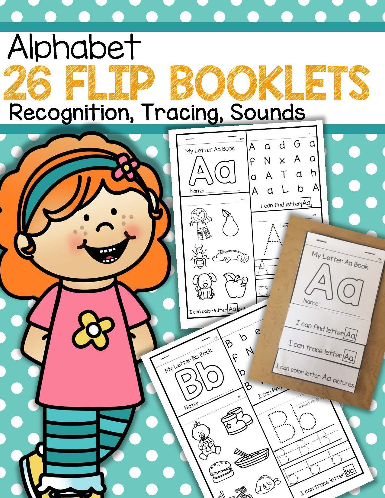 26 Alphabet Flip Books - Letter Recognition, Tracing And throughout Tracing Letters Booklet
