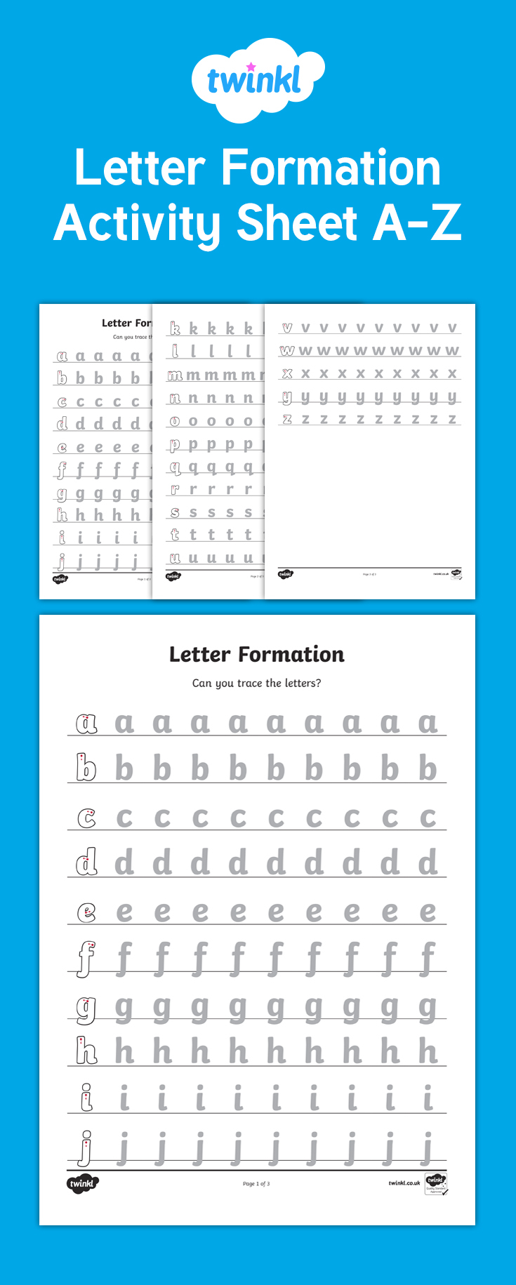 A Set Of Letter Formation Worksheets For Each Letter Of The regarding Letter Tracing Worksheets Twinkl
