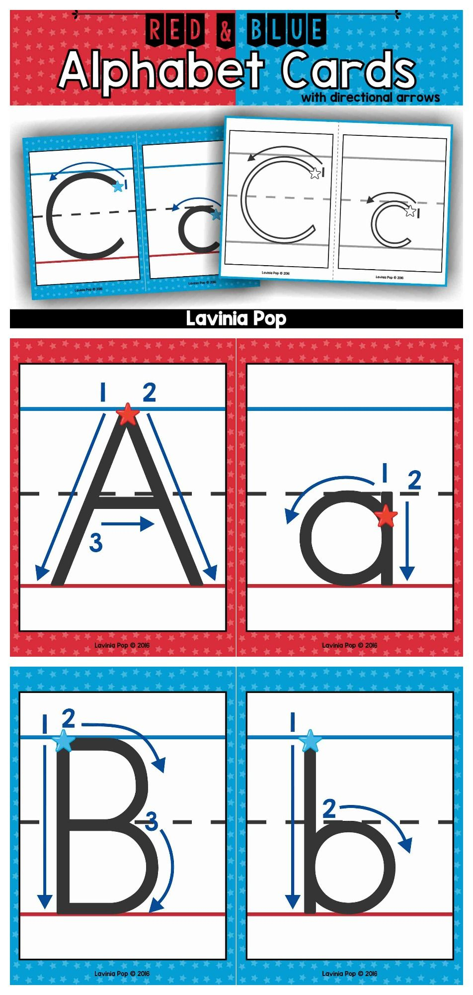 Alphabet Handwriting Cards With Directional Arrows - Red for Free Tracing Letters With Directional Arrows
