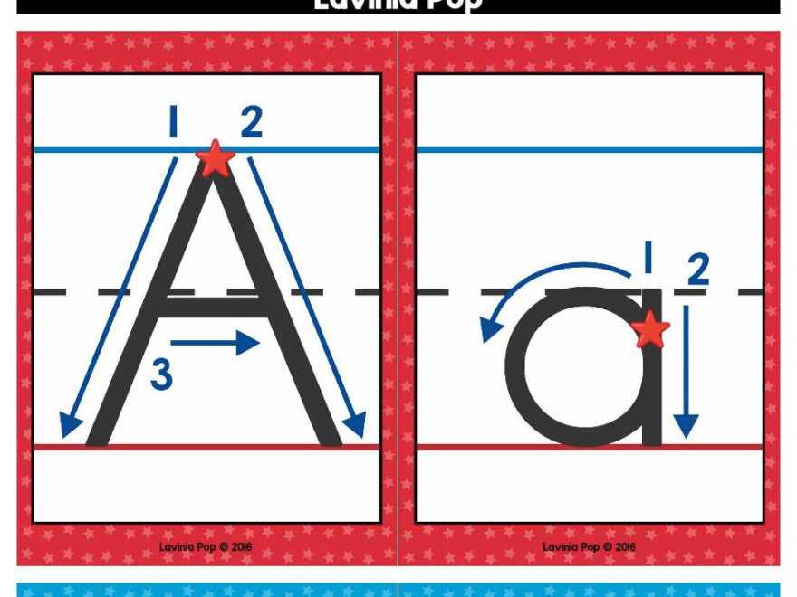 Alphabet Handwriting Cards With Directional Arrows - Red in Tracing Letters With Directional Arrows