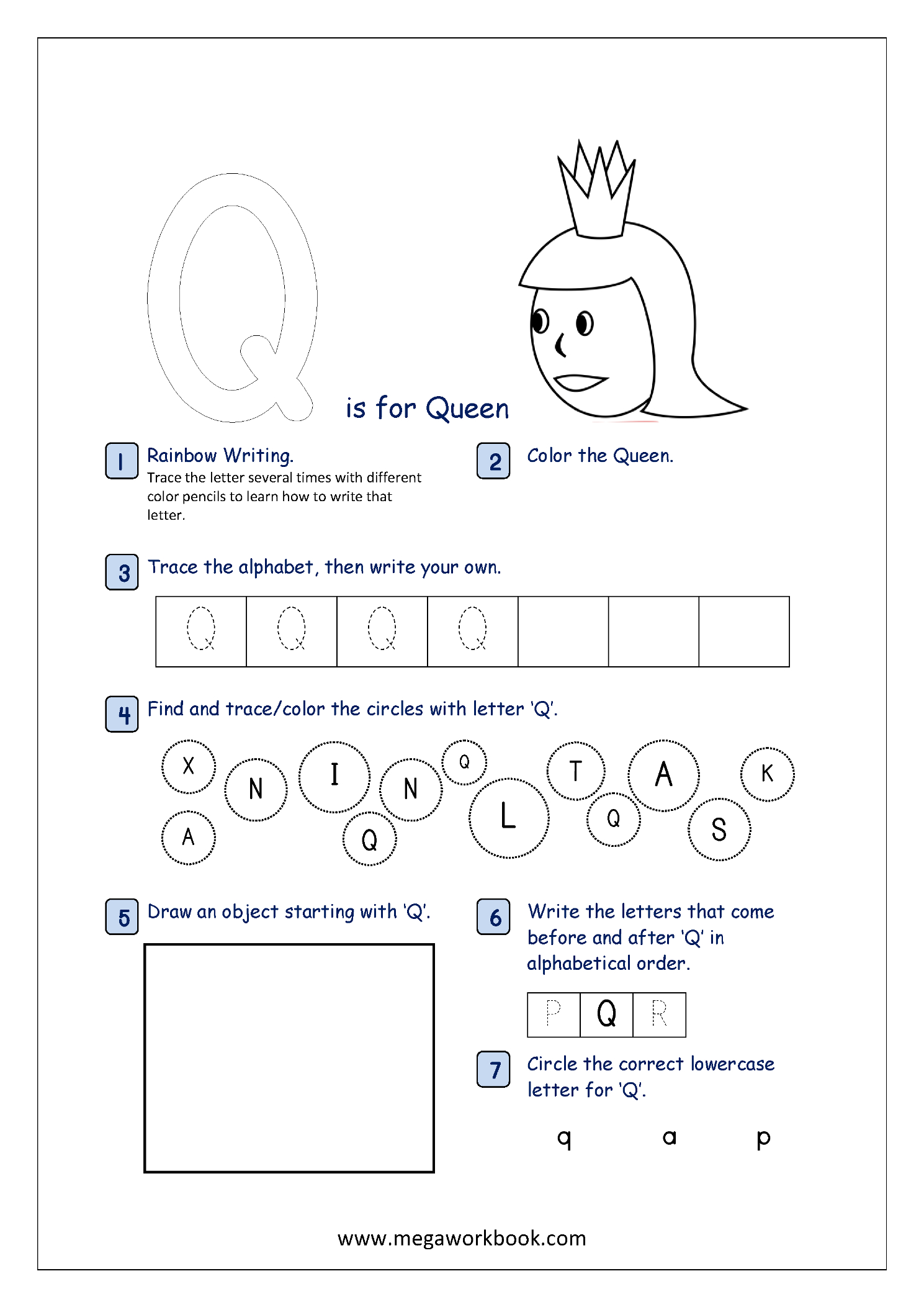 Alphabet Recognition Activity Worksheet - Capital Letter - Q for Tracing Letter Q Worksheets