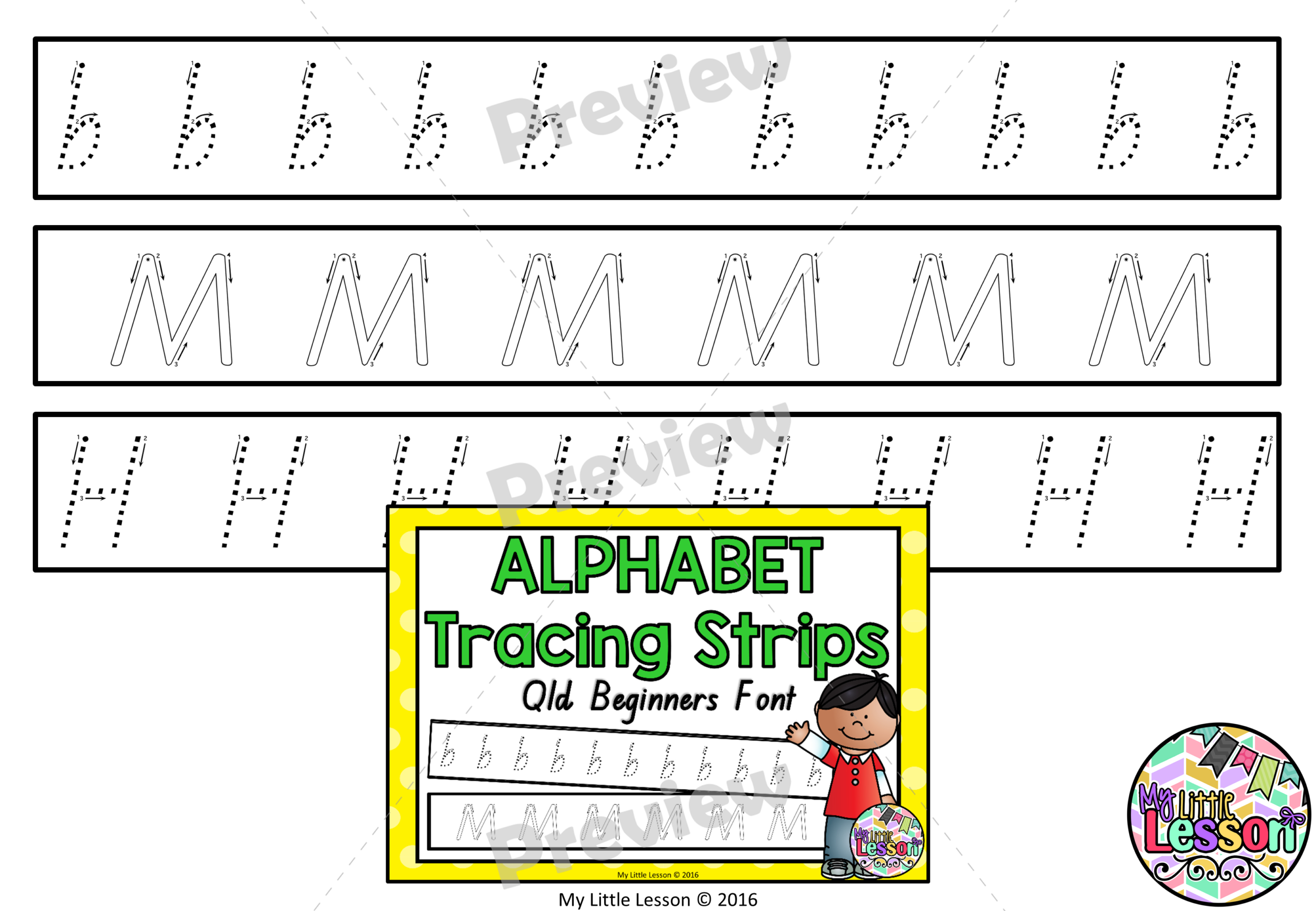 Alphabet Tracing Strips Qld Beginners Font inside Qld Font Tracing Letters