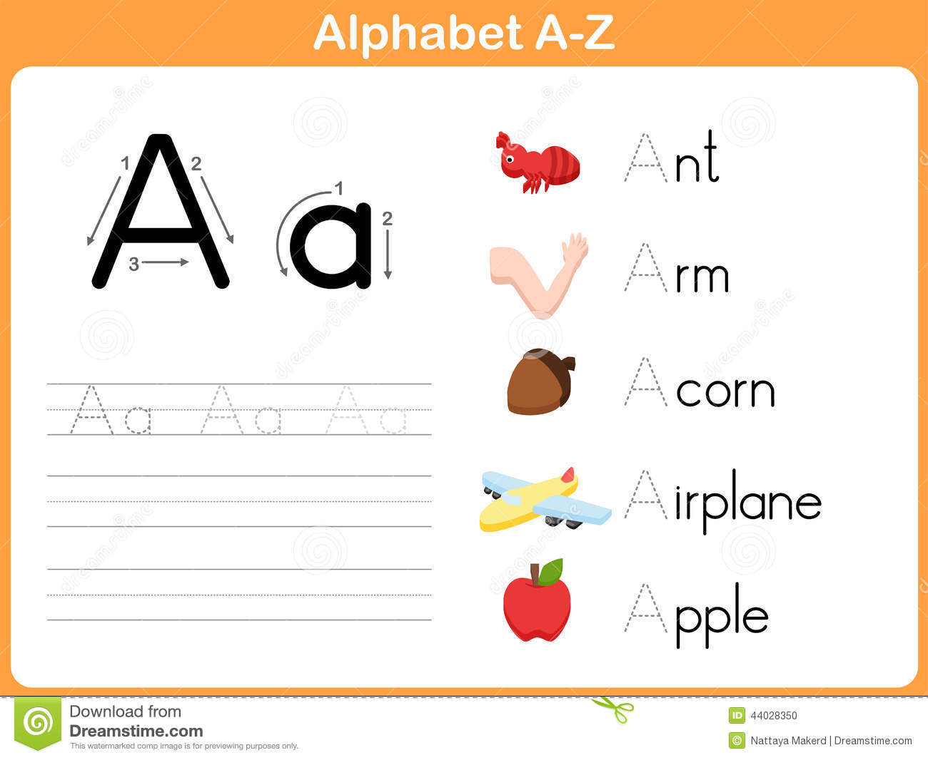 Alphabet Tracing Worksheet Stock Vector. Illustration Of in A-Z Tracing Letters Worksheets