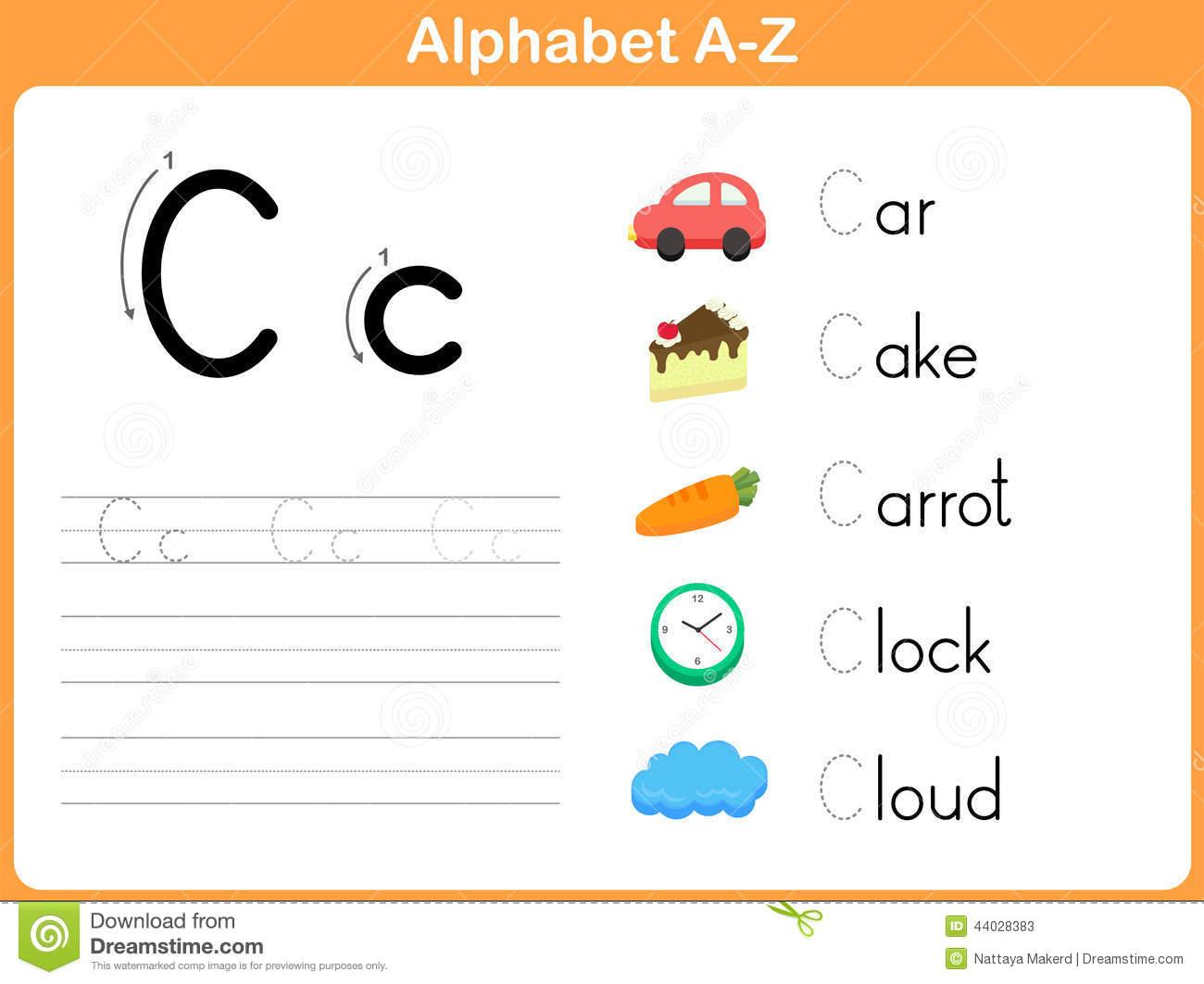Alphabet Tracing Worksheet Stock Vector. Illustration Of inside Tracing Letters Az Worksheets