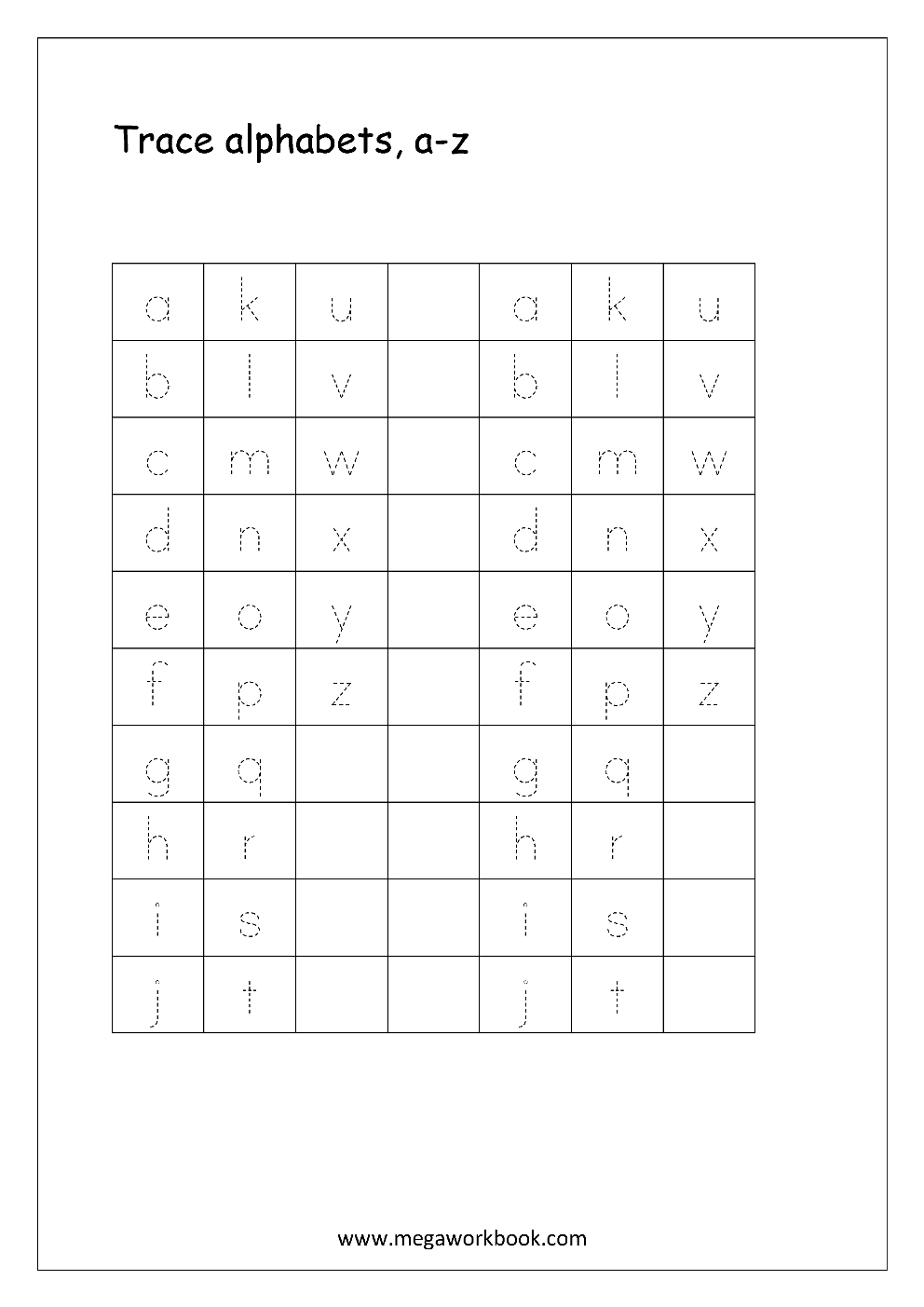 Alphabet Tracing Worksheets Small Letters Kids Jr Kg intended for Alphabet Tracing Worksheet Small Letters
