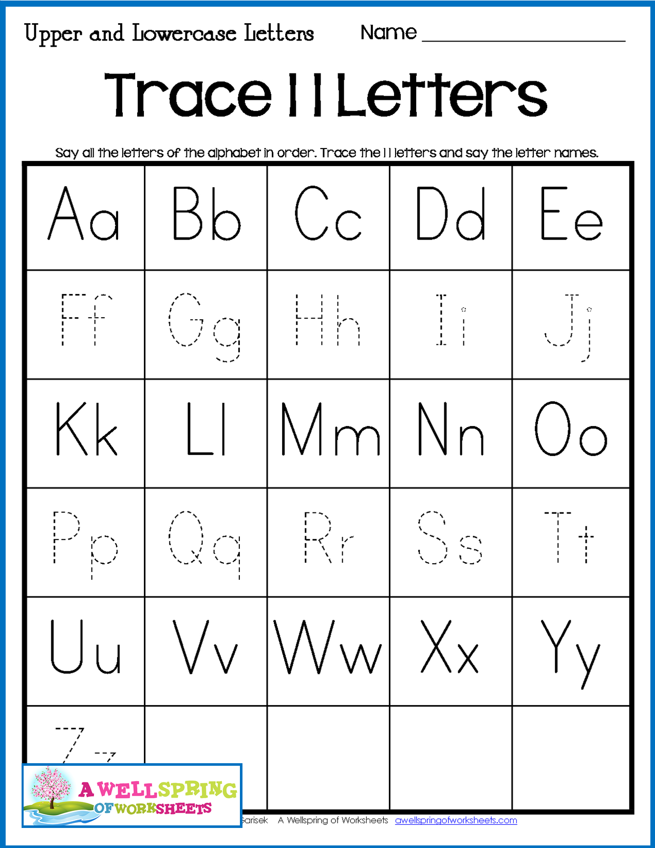 Alphabet Tracing Worksheets - Uppercase & Lowercase Letters for Tracing Letters Worksheets Name