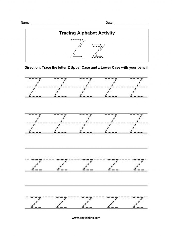 Alphabet Worksheets For Kindergarten To Z Pdf Kids for Letter Tracing Worksheets A-Z Pdf
