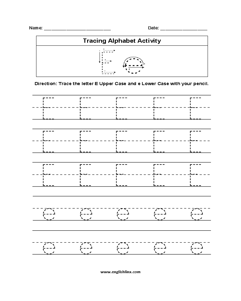 Alphabet Worksheets | Tracing Alphabet Worksheets for Letter E Tracing Worksheets