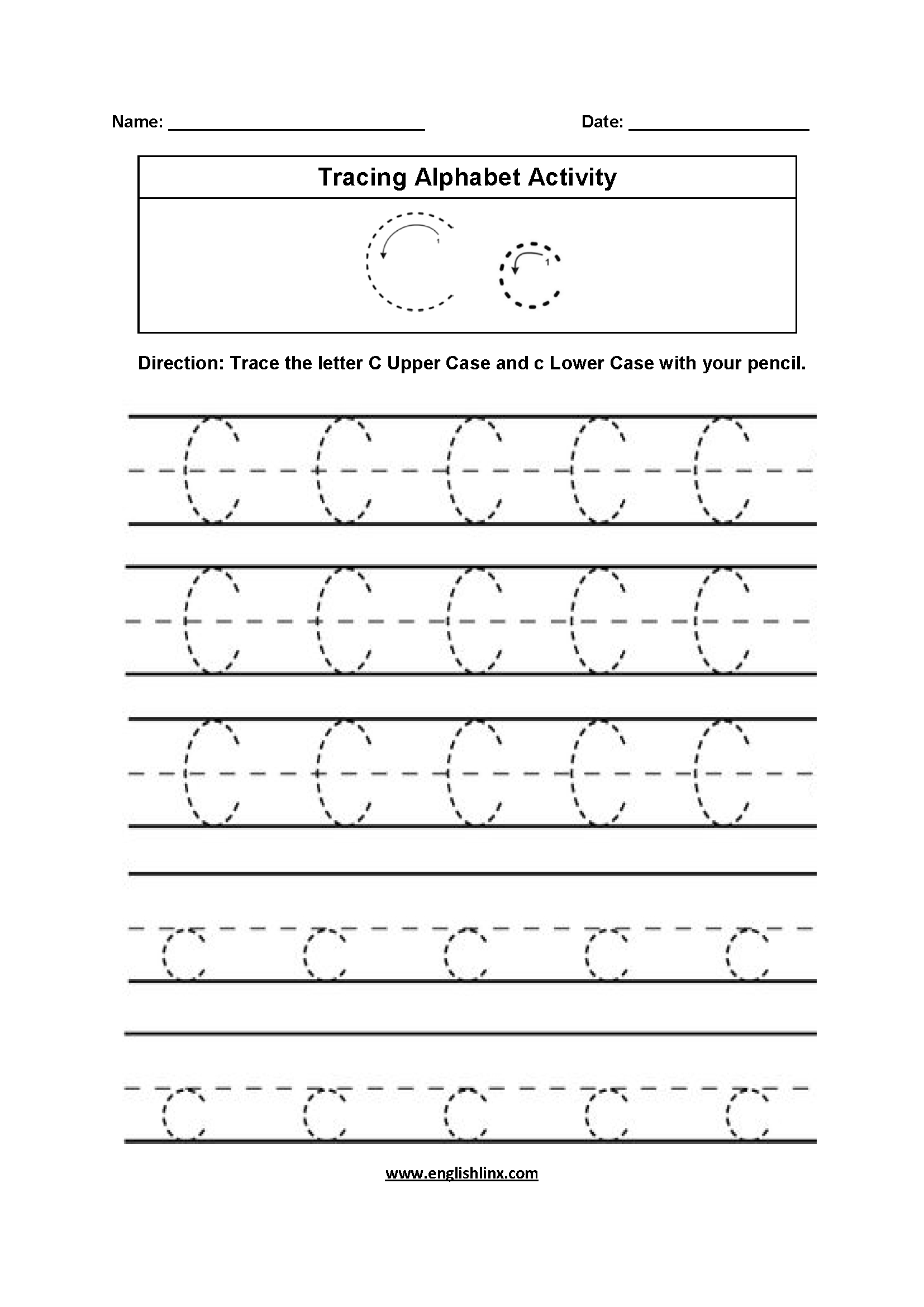 Alphabet Worksheets | Tracing Alphabet Worksheets in C Letter Tracing Worksheet