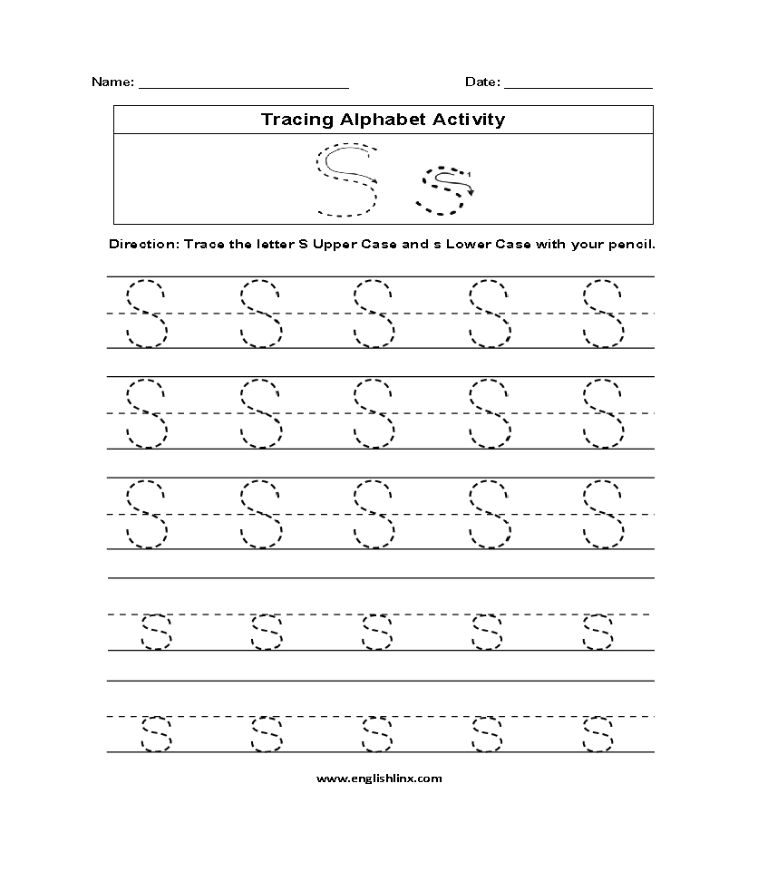 Alphabet Worksheets | Tracing Alphabet Worksheets in Tracing Letters S