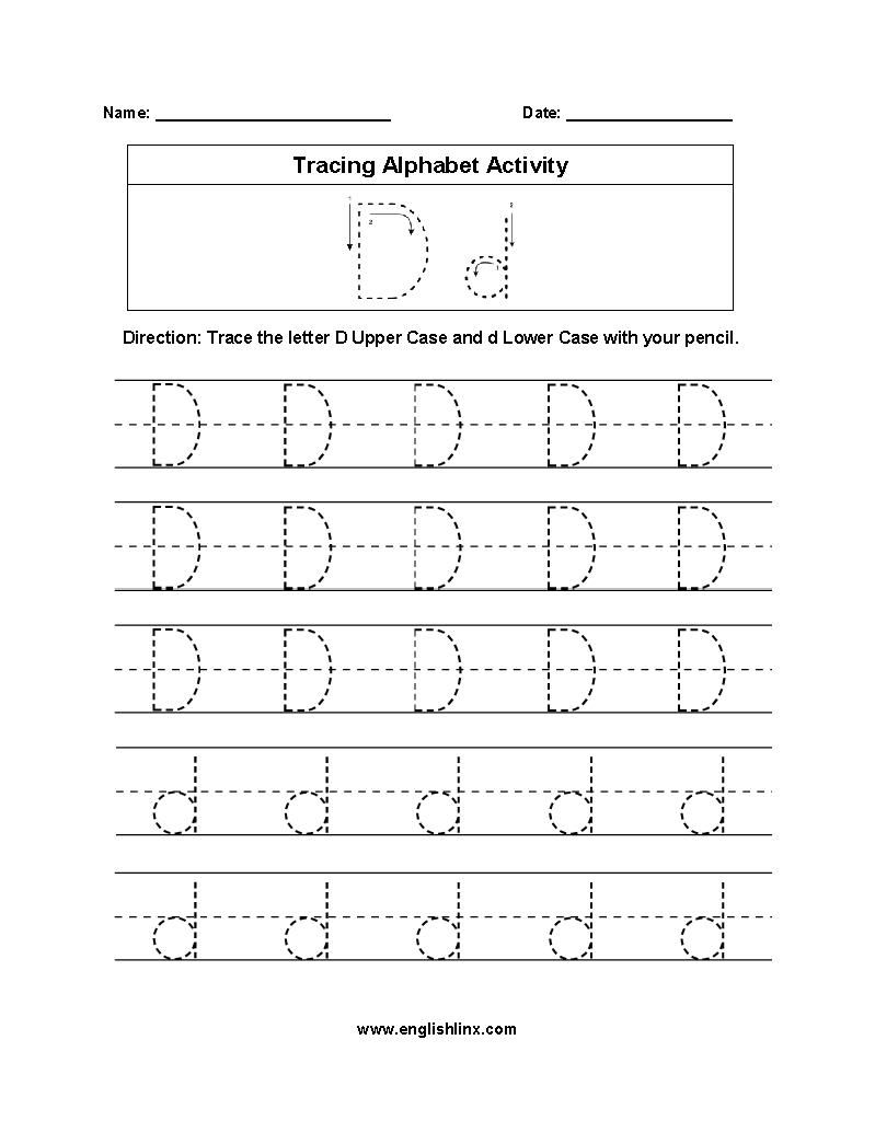 Alphabet Worksheets | Tracing Alphabet Worksheets intended for Tracing Letter D Worksheets