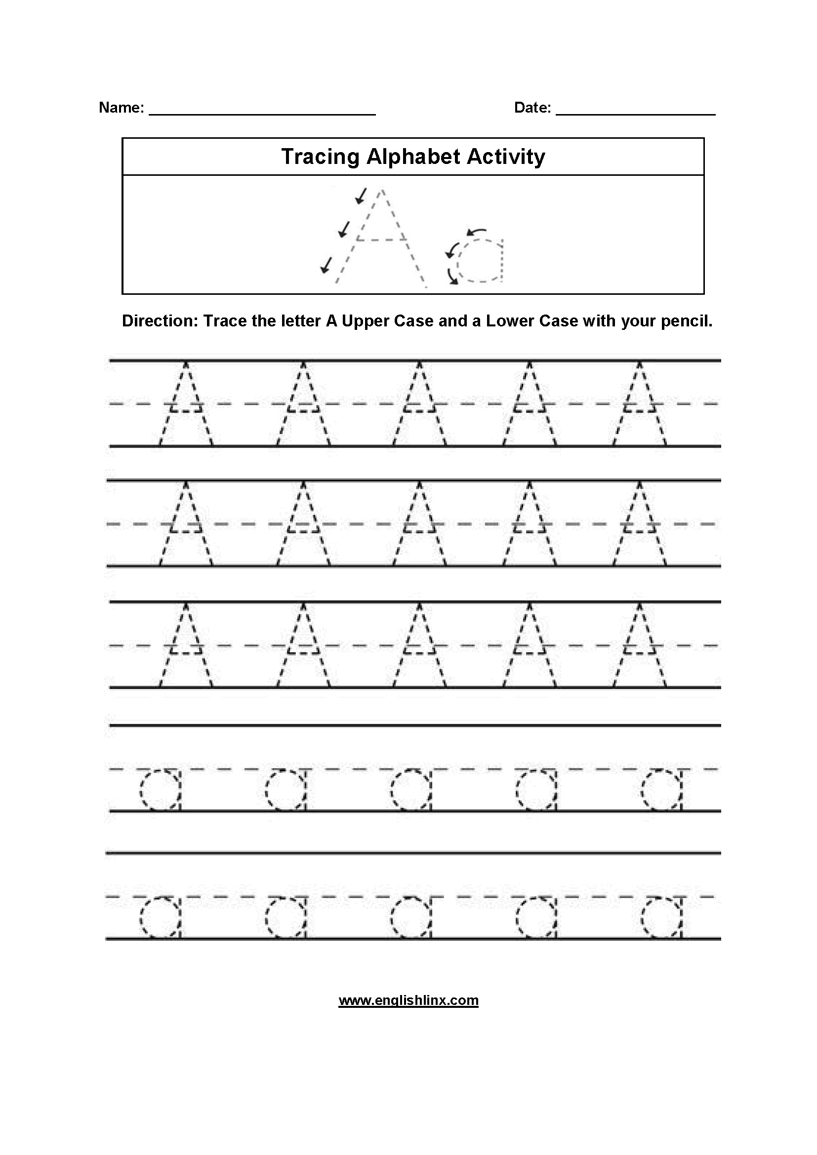 Alphabet Worksheets | Tracing Alphabet Worksheets pertaining to A Tracing Letters