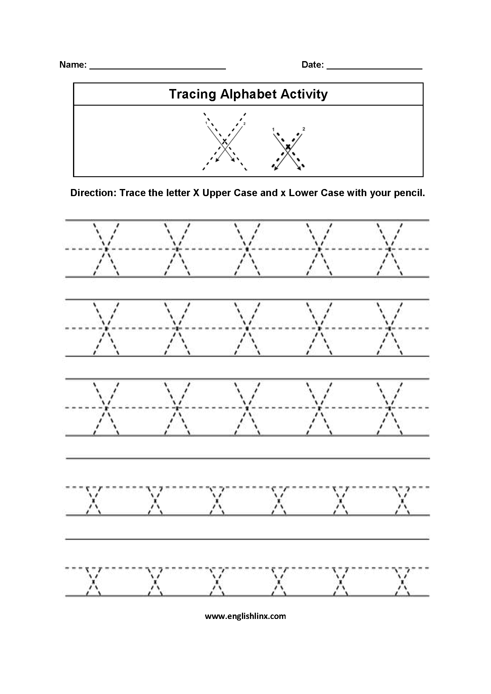 Alphabet Worksheets | Tracing Alphabet Worksheets pertaining to Tracing Letter X Worksheets