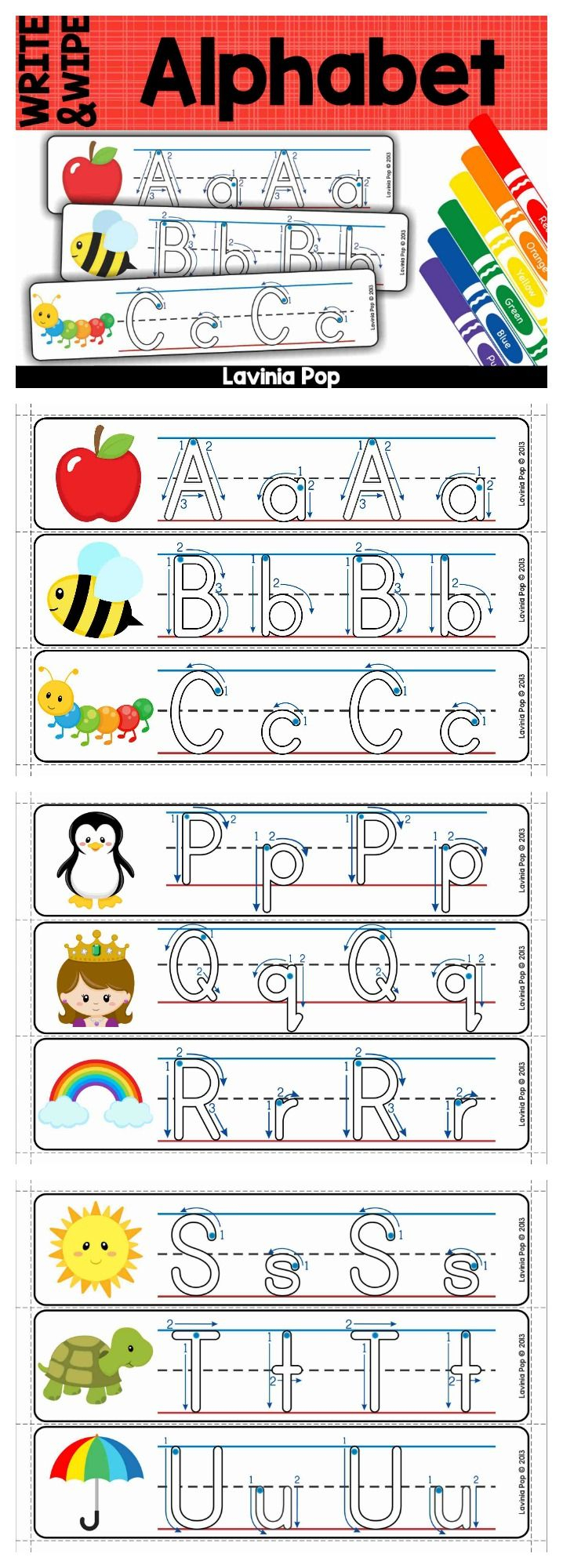 Alphabet Write And Wipe With Correct Letter Formation inside Free Tracing Letters With Directional Arrows