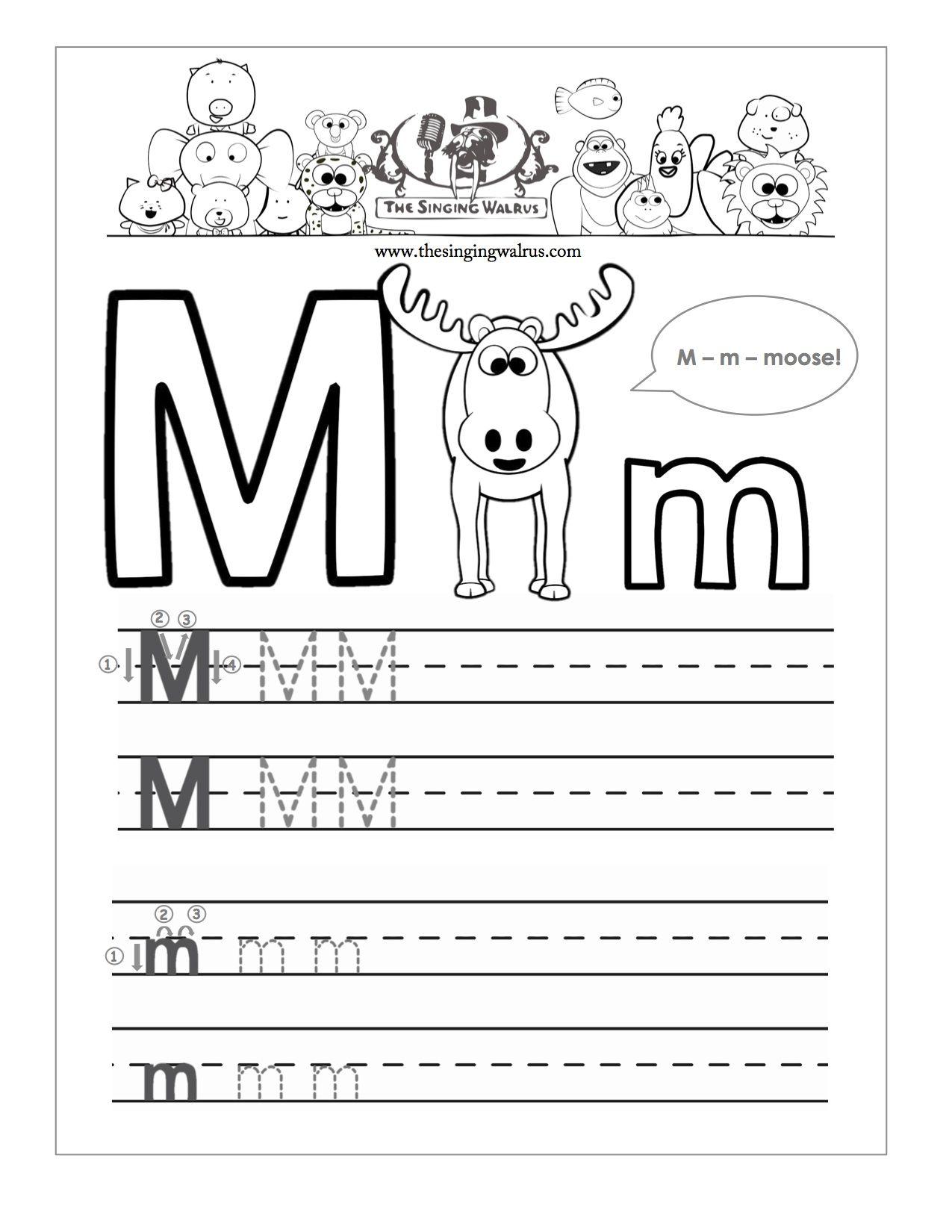 Beautiful Letter M Writing Worksheet | Educational Worksheet in Tracing Letter M Worksheets Kindergarten