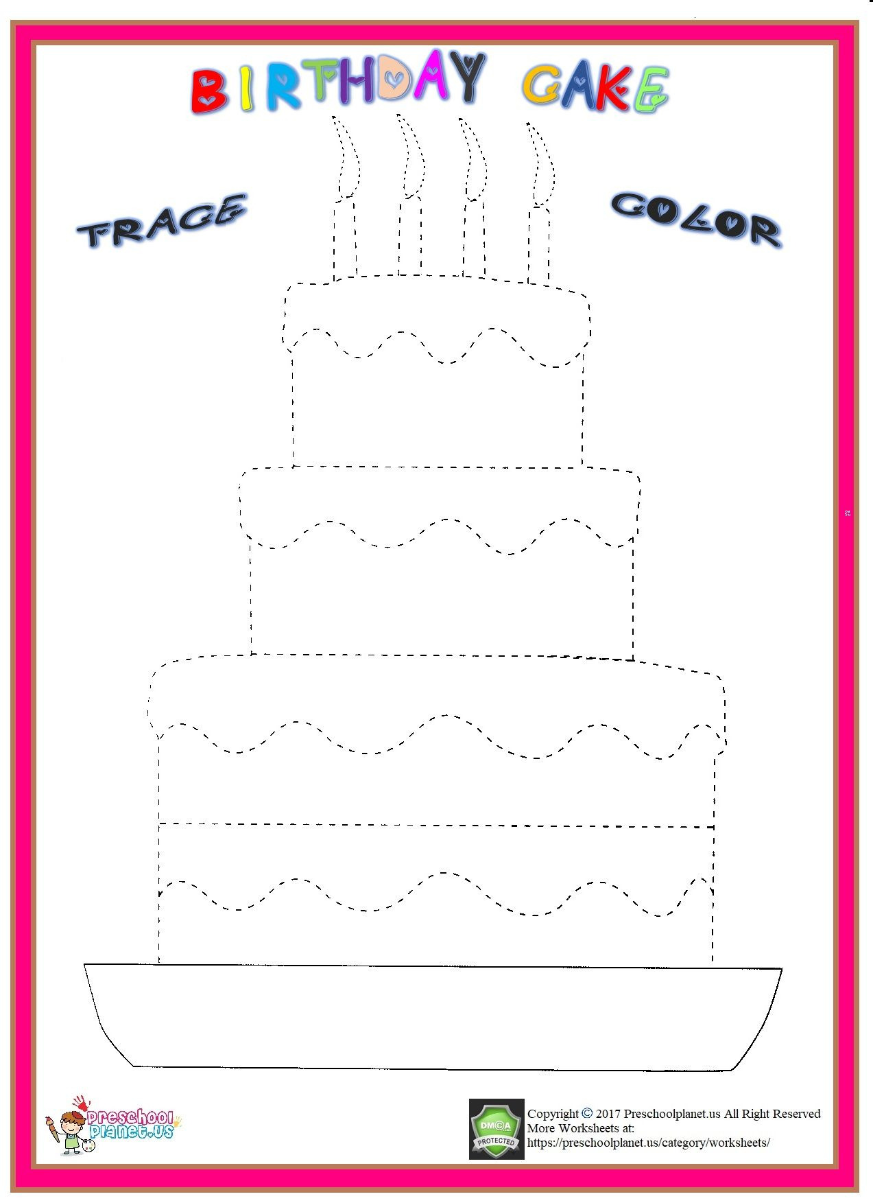 Birthday Cake Trace Worksheet | Dad Birthday Cakes, Cupcake throughout Happy Birthday Tracing Letters