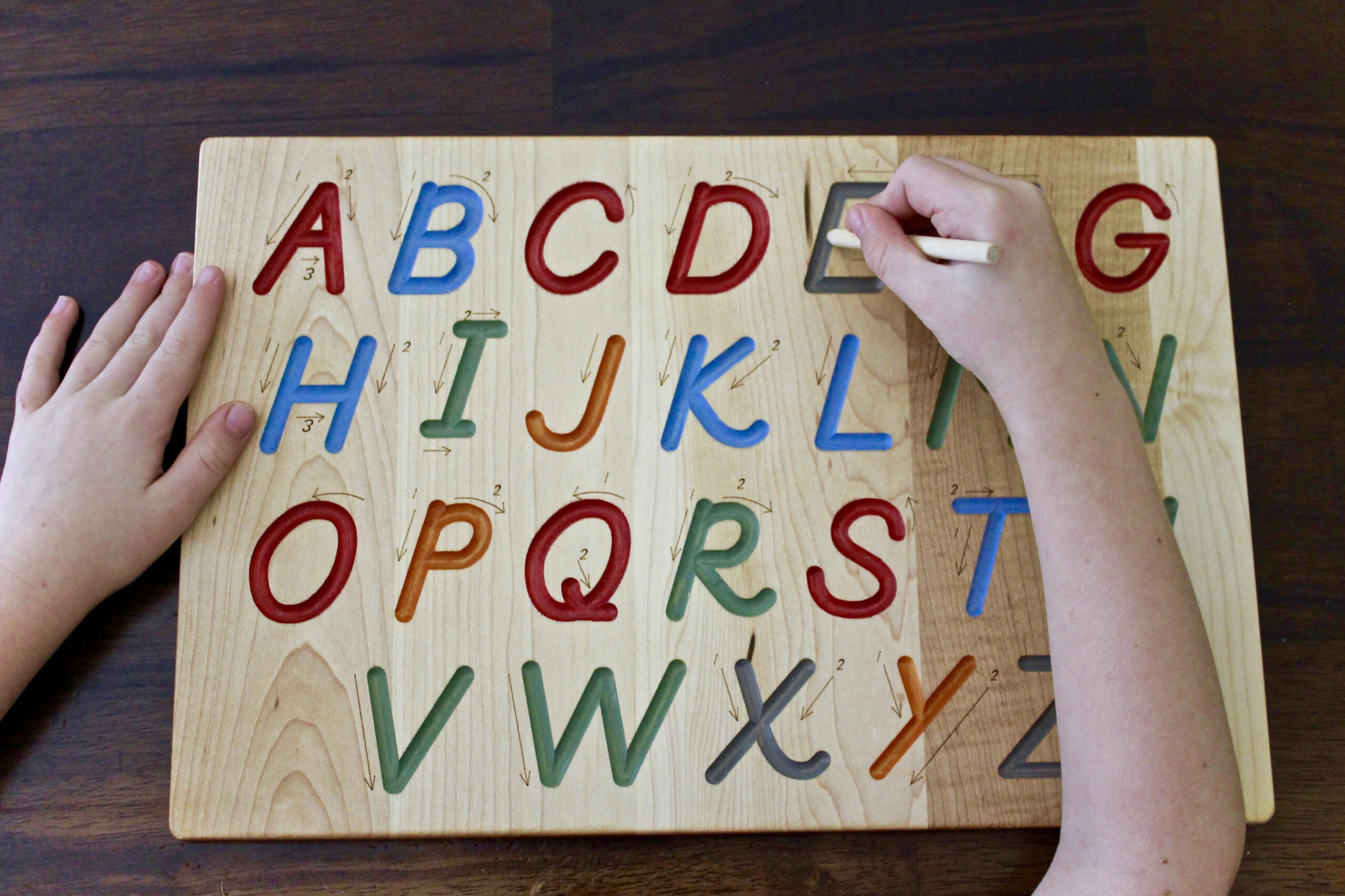 Buy A Hand Crafted Wooden Alphabet Tracing Board, Made To with regard to Tracing Letters With Fingers