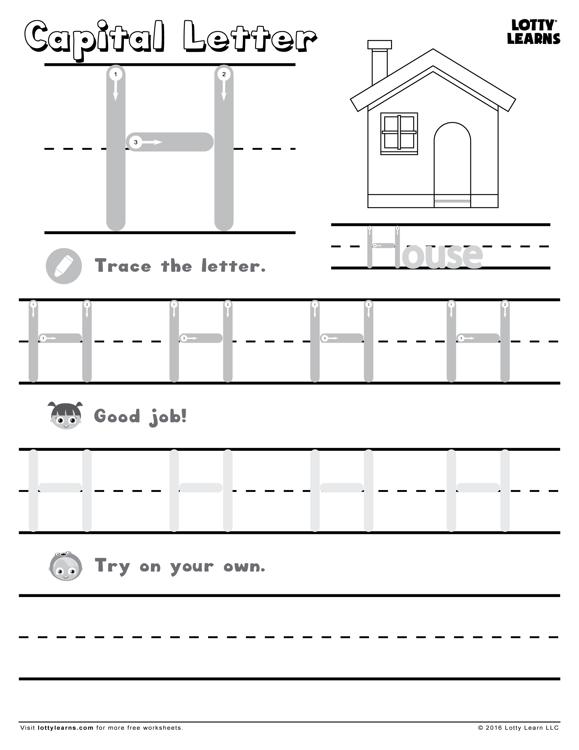 Capital Letter H | Lotty Learns | Letter I Worksheet, Letter with regard to Free Tracing Letter H Worksheets