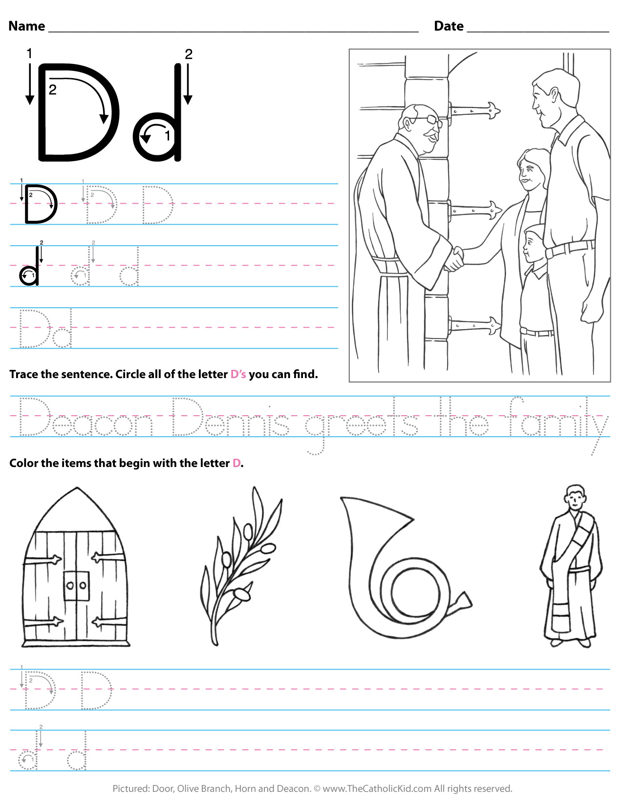 Catholic Alphabet Letter D Worksheet Preschool Kindergarten intended for Trace Letter D Worksheets Preschool