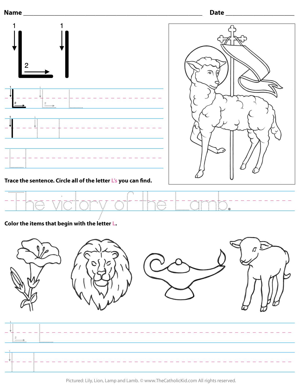 Catholic Alphabet Letter L Worksheet Preschool Kindergarten pertaining to Tracing Letter L Worksheets For Kindergarten