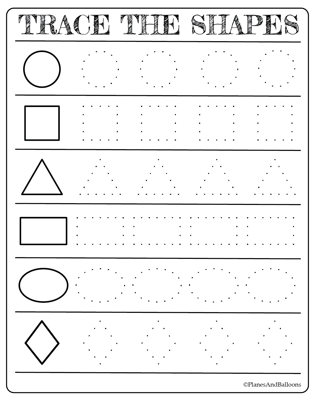 Coloring Book : Free Printable Shapes Worksheets For with Tracing Letters Numbers And Shapes