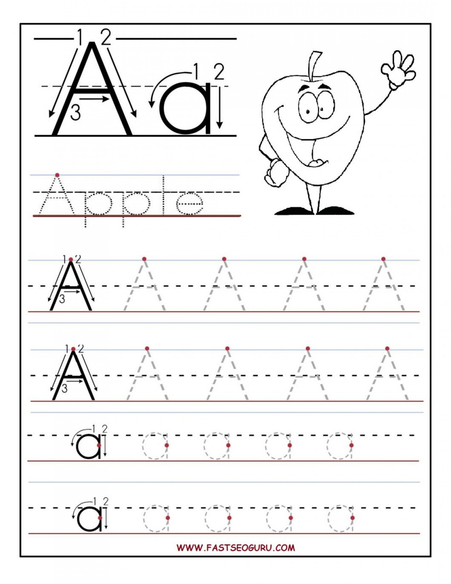 Coloring Book : Free Printable Tracingts For Kindergarten inside Tracing Letter A Worksheets For Kindergarten
