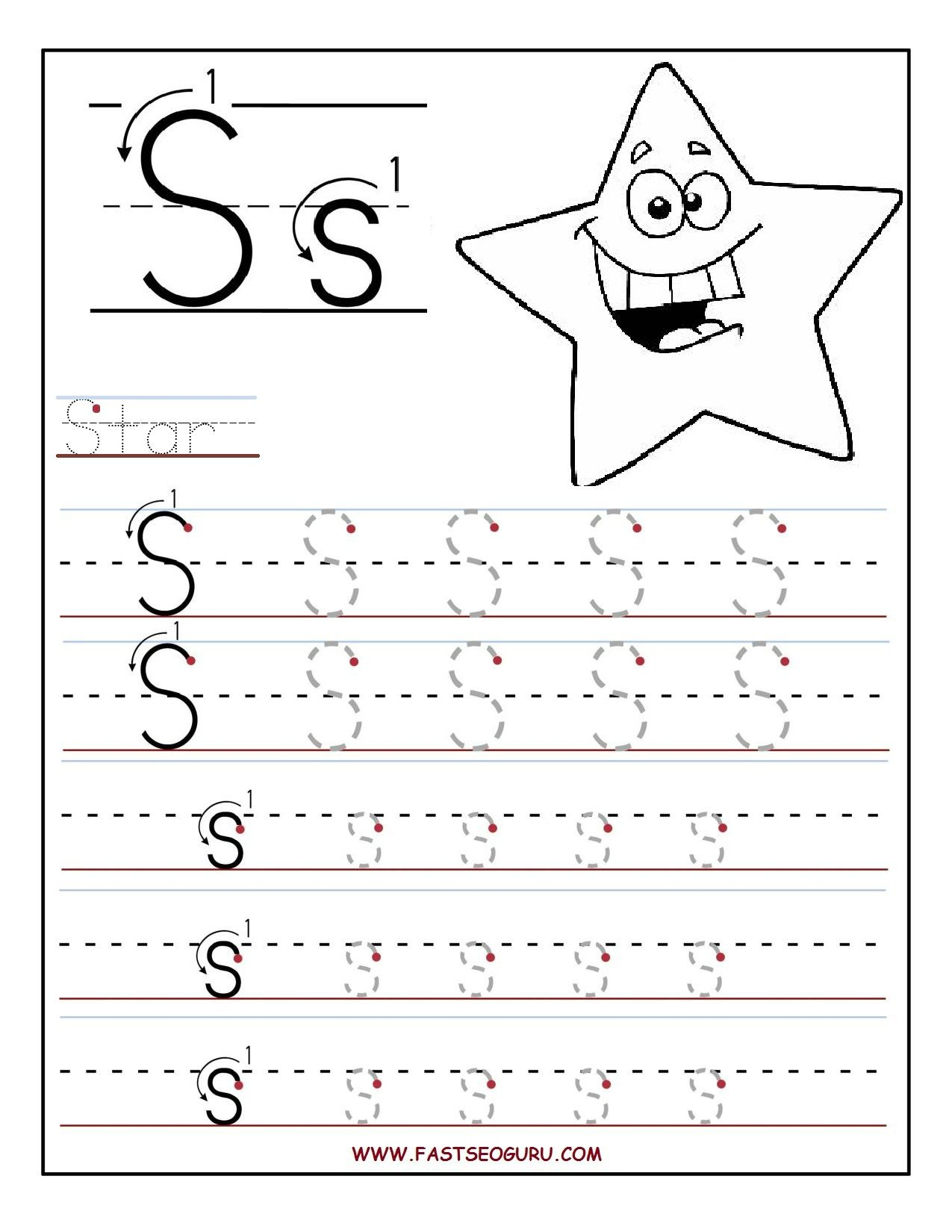 Coloring Book : Printable Letter S Tracing Worksheets inside Printable Preschool Worksheets Tracing Letters