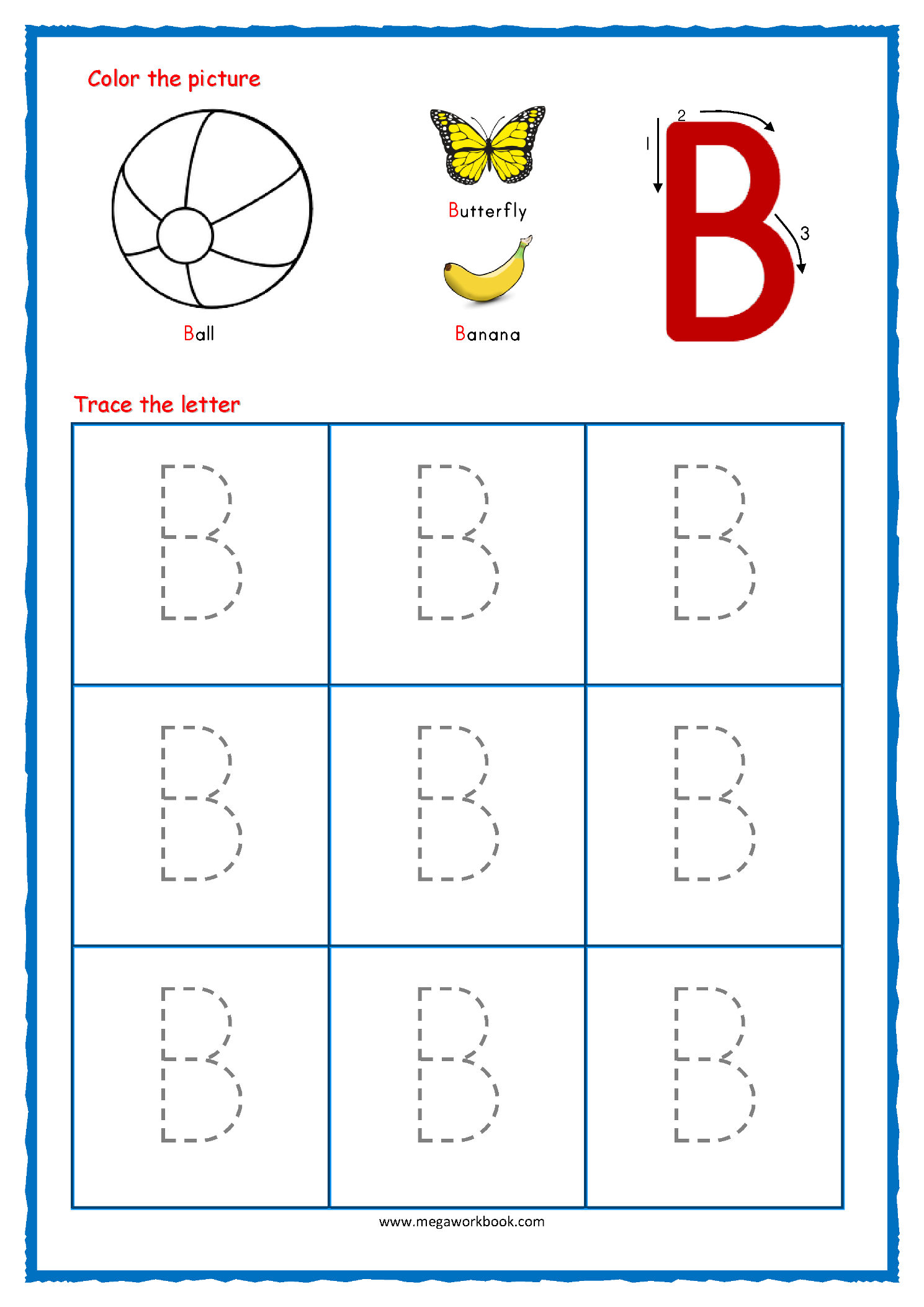Letter Tracing Worksheets With Arrows ...