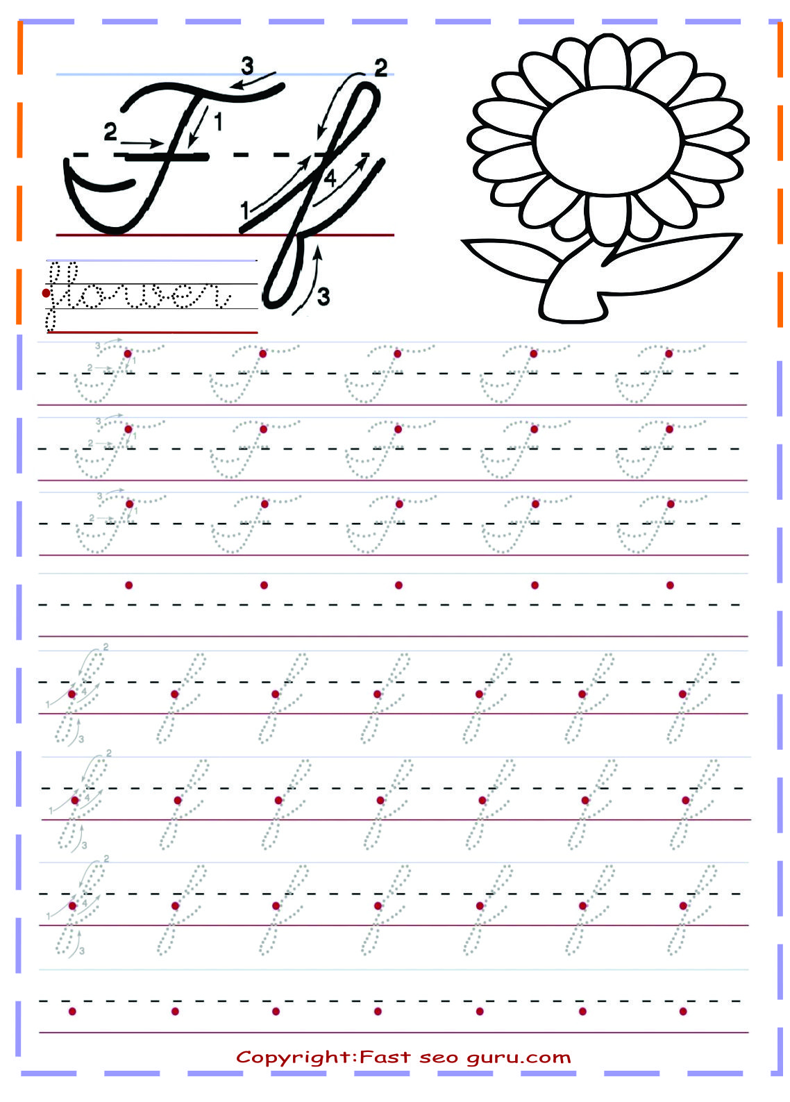 Cursive Handwriting Tracing Worksheets For Practice Letter F for Cursive Letters Tracing Sheets