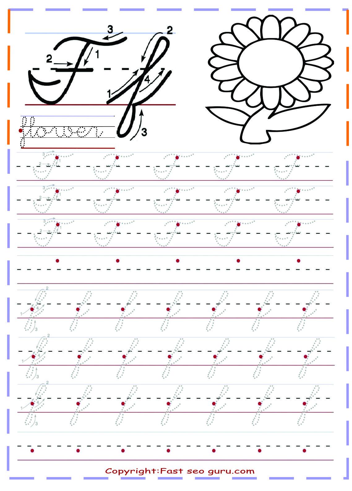 Cursive Handwriting Tracing Worksheets For Practice Letter F in Letter Tracing Worksheets Cursive