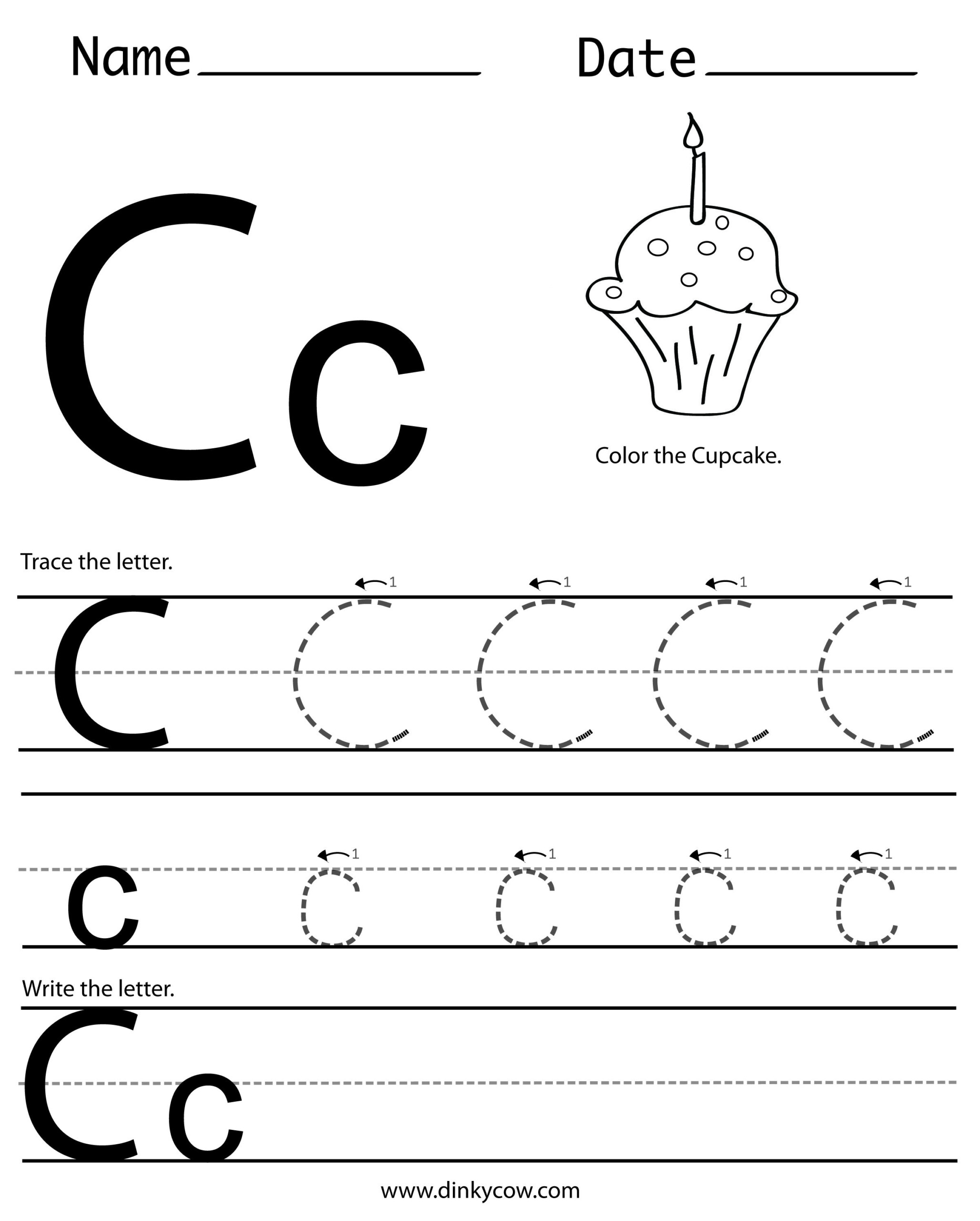 نتيجة بحث الصور عن ‪worksheet C‬‏ | Printable Preschool within C Letter Tracing Worksheet