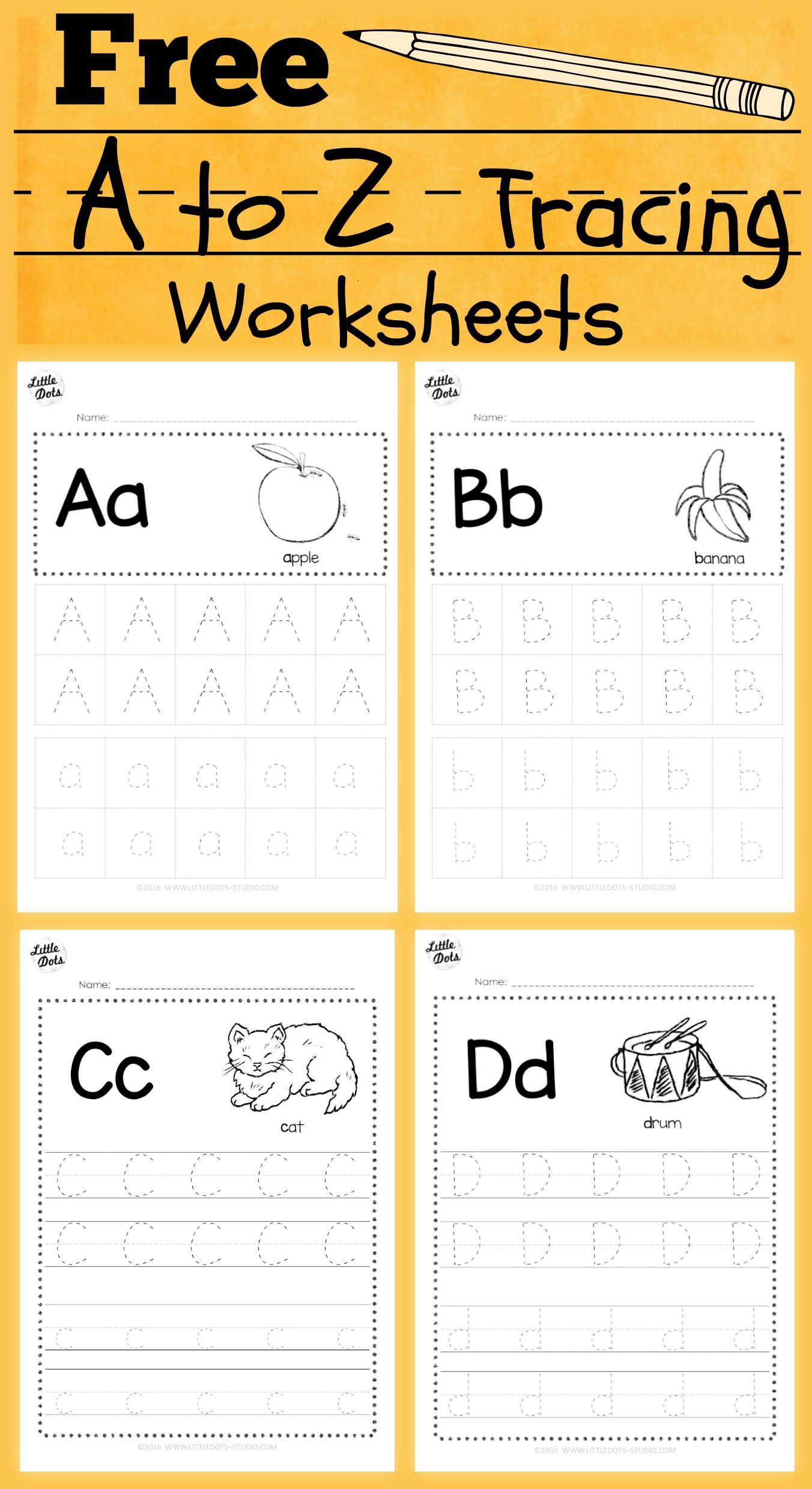 Download Free Alphabet Tracing Worksheets For Letter A To Z inside Download Tracing Letters