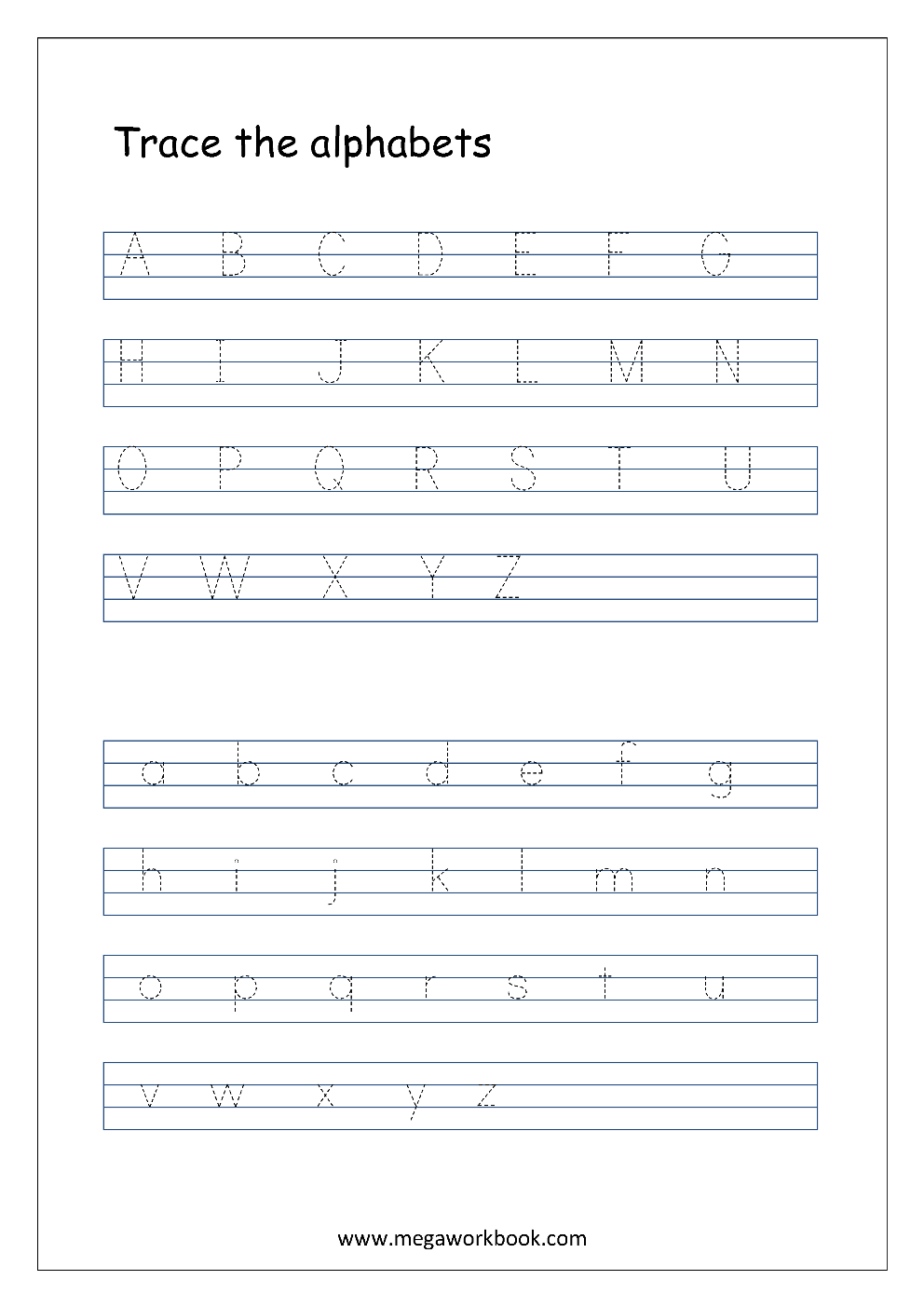 English Worksheet - Alphabet Tracing - Capital And Small in Tracing Small Letters Az
