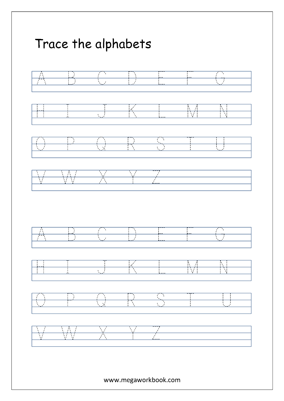 English Worksheet - Alphabet Tracing In 4 Lines - Capital inside Tracing Uppercase Letters Pdf
