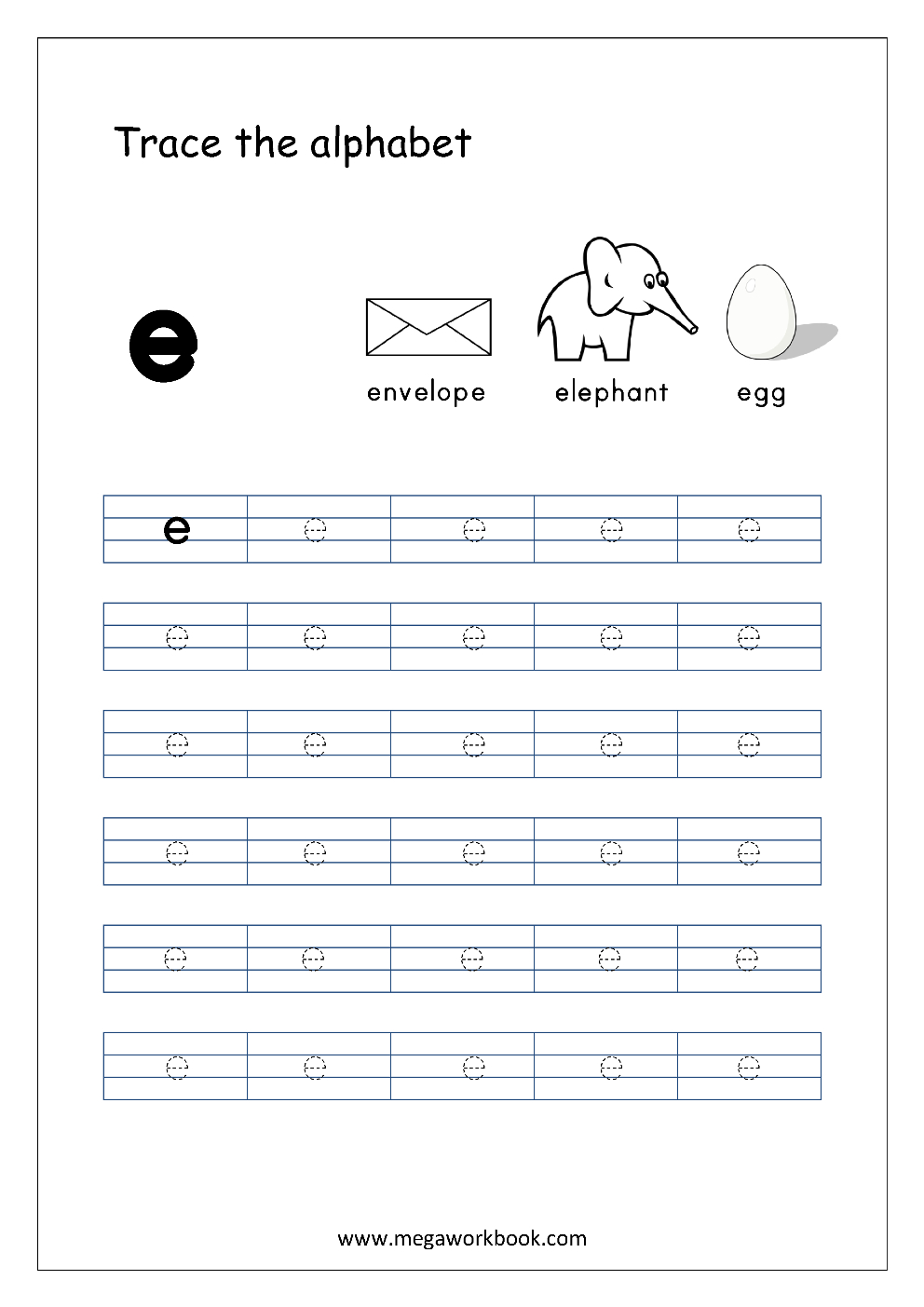 English Worksheet - Alphabet Tracing - Small Letter E inside Tracing Letters Jolly Phonics