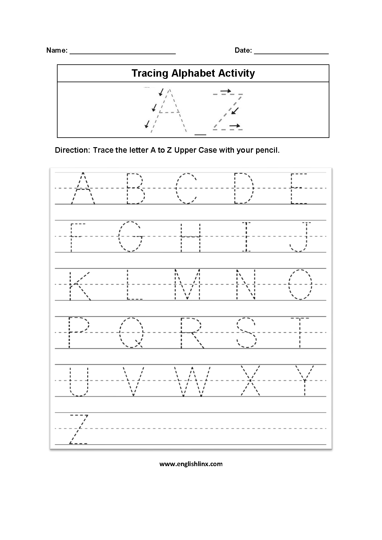 Englishlinx | Alphabet Worksheets with A-Z Tracing Letters Worksheets
