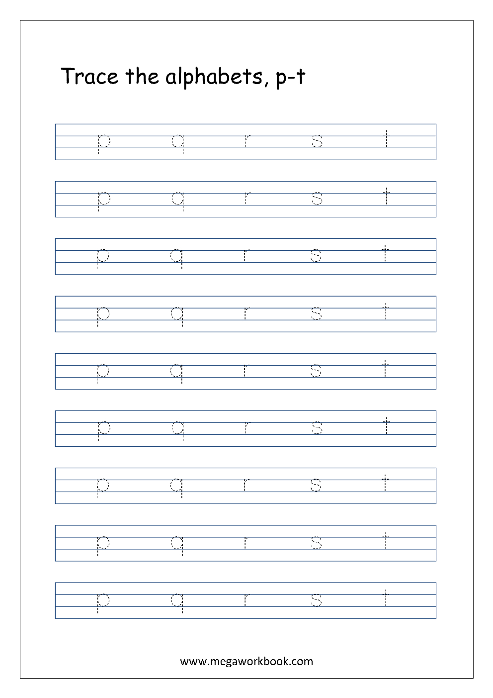 Free English Worksheets - Alphabet Tracing (Small Letters intended for Small Letters Alphabet Tracing Sheets