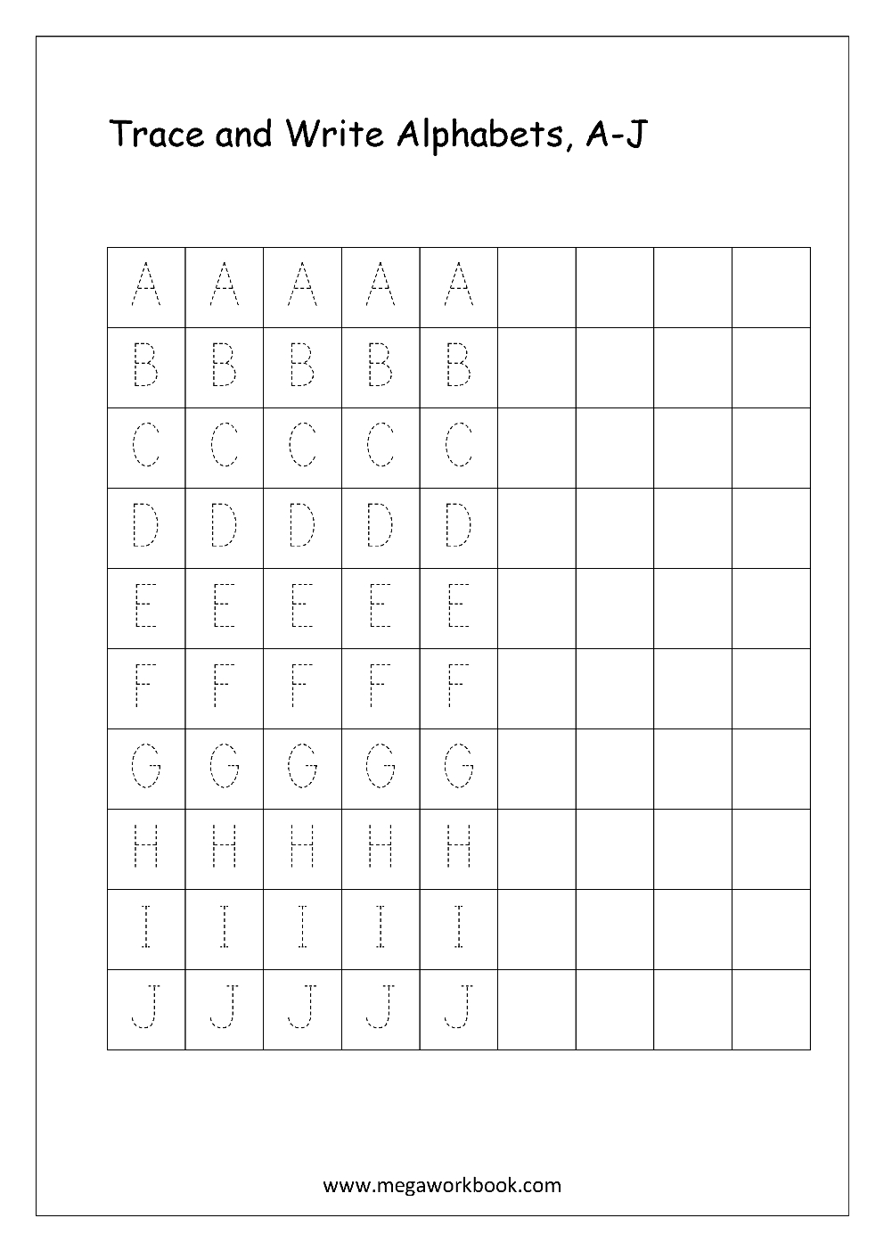 Free English Worksheets - Alphabet Writing (Capital Letters inside Writing Practice Of Gujarati Letters By Tracing