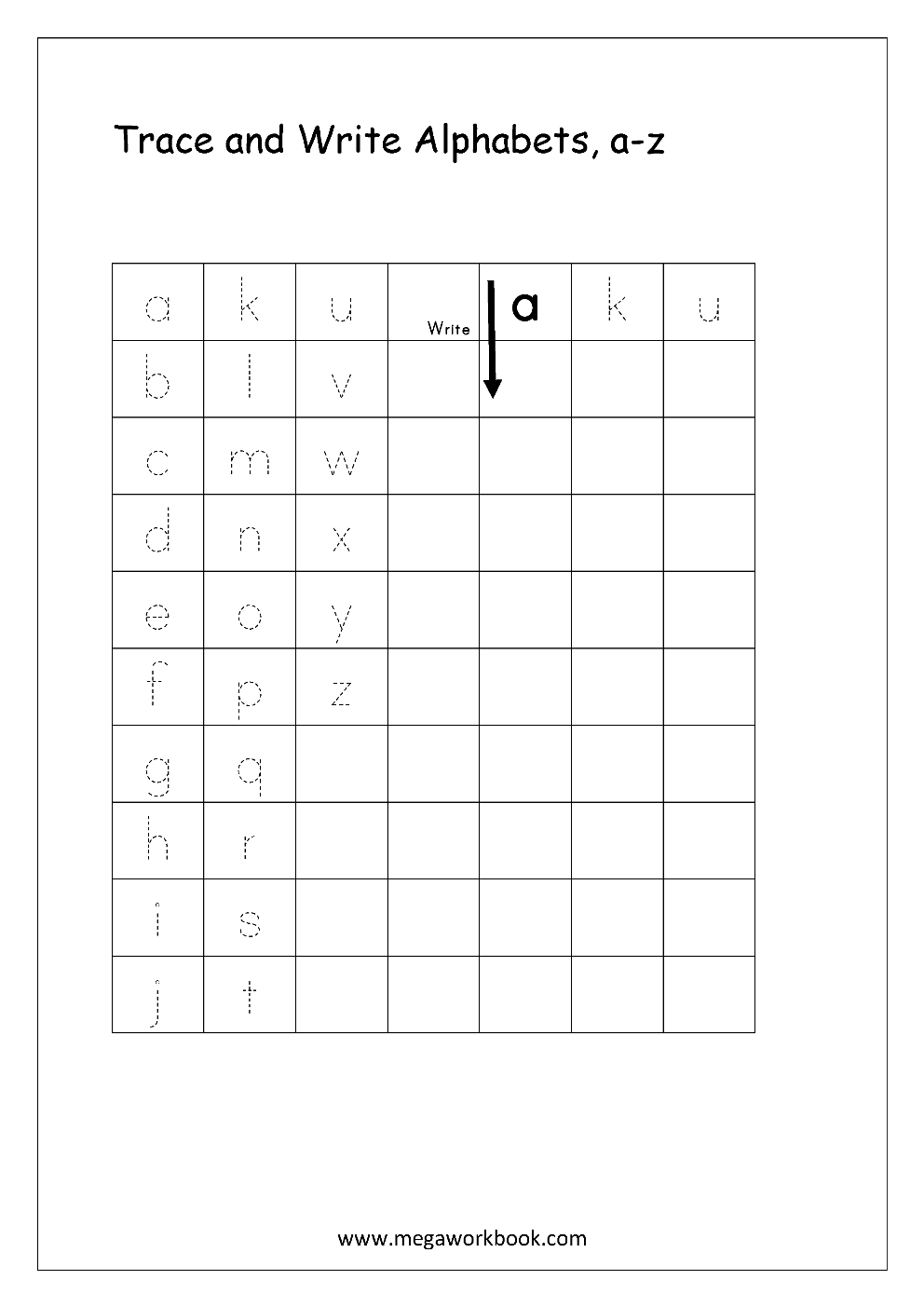 Free English Worksheets - Alphabet Writing (Small Letters within Lowercase Letters Tracing Worksheets Pdf