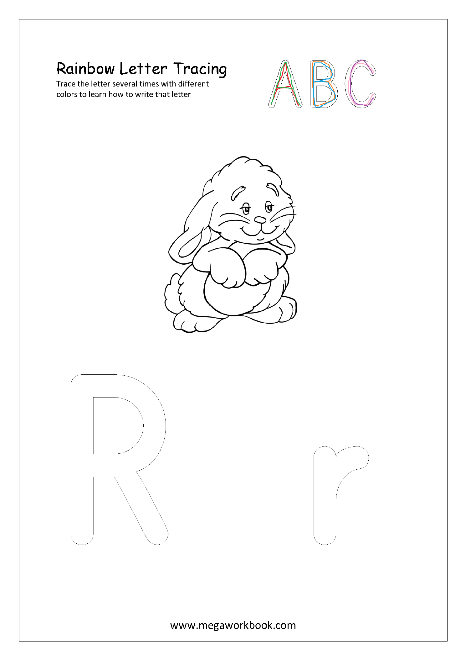 Free English Worksheets - Rainbow Letter Tracing inside Rainbow Tracing Letters