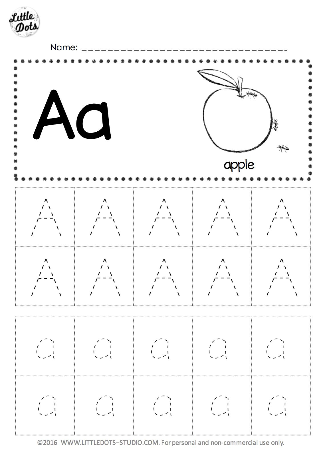 Free Letter A Tracing Worksheet intended for Dot Letters For Tracing Free