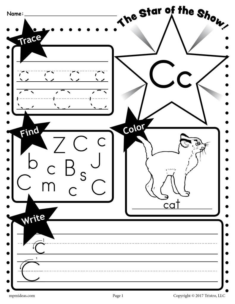 Free Letter C Worksheet: Tracing, Coloring, Writing & More with Tracing Letter C Worksheets