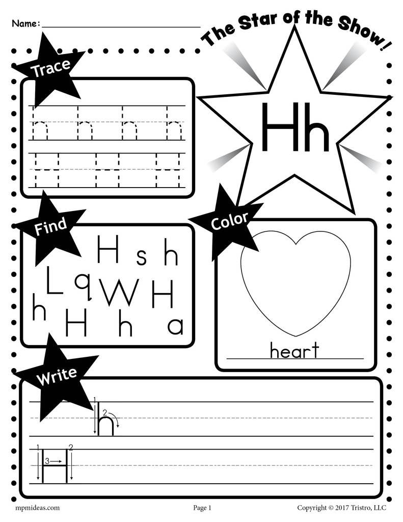Free Letter H Worksheet: Tracing, Coloring, Writing & More regarding Tracing Letter H Worksheets Preschoolers