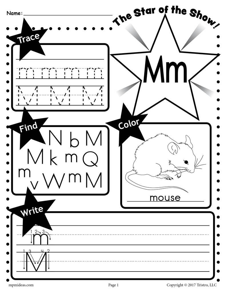 Free Letter M Worksheet: Tracing, Coloring, Writing & More with Tracing Letter M Worksheets Kindergarten