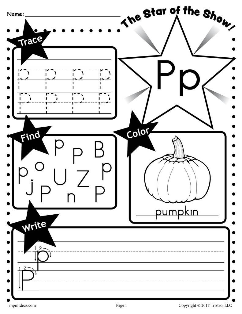 Free Letter P Worksheet: Tracing, Coloring, Writing & More throughout Tracing Letter P Worksheets