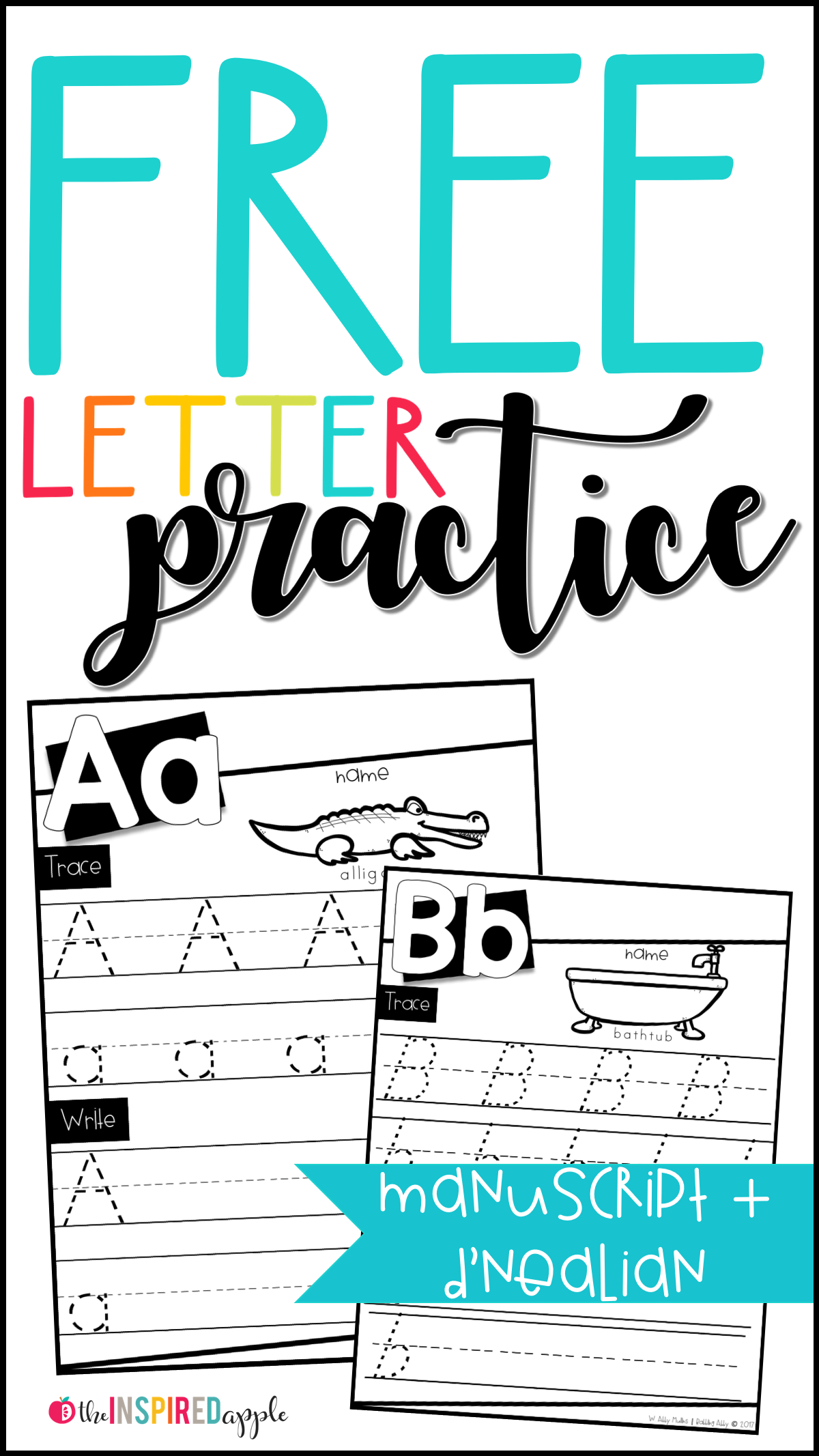 Free Letter Practice Worksheets - Babbling Abby with regard to D'nealian Alphabet Tracing Worksheets
