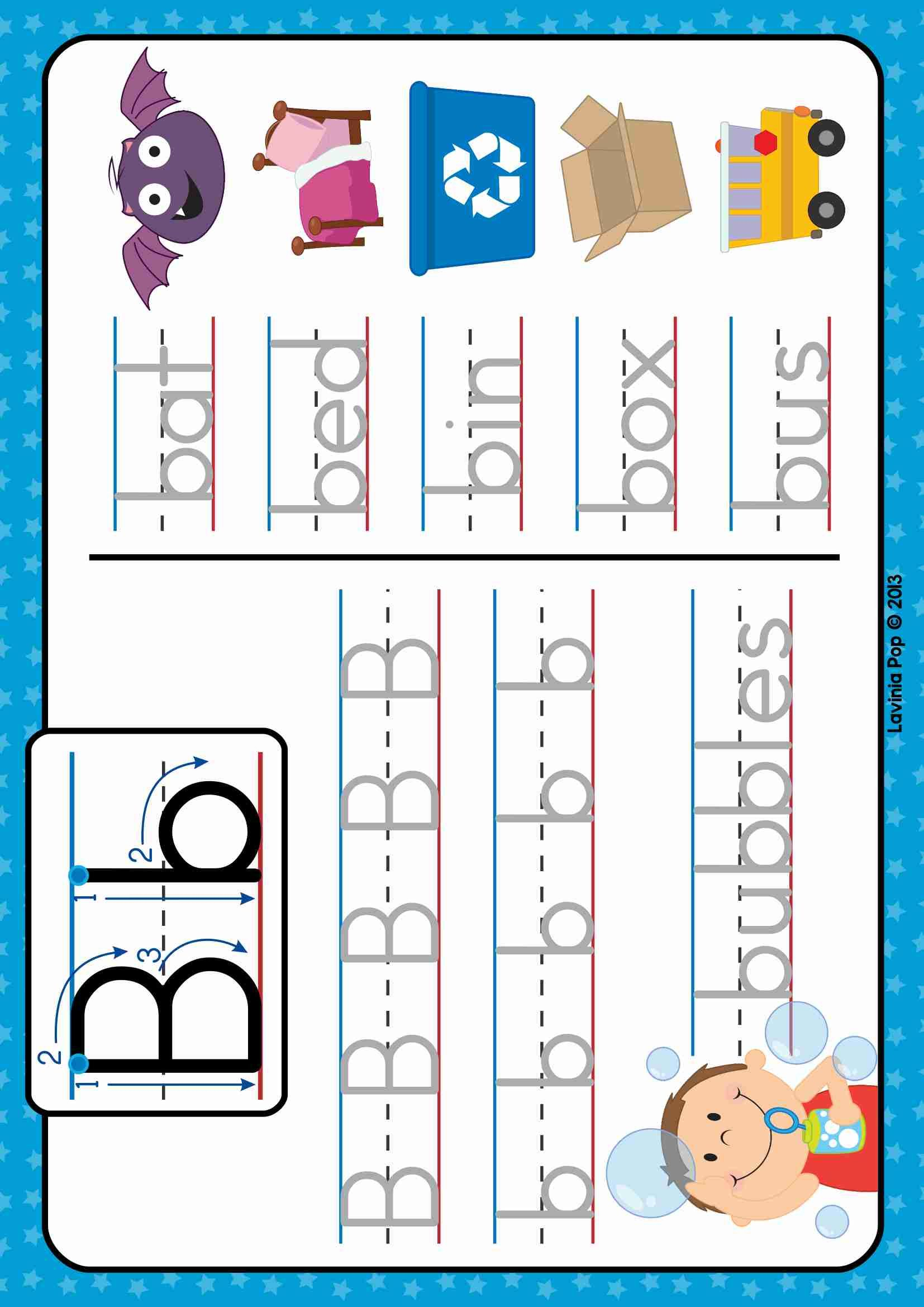 Free Phonics Letter Of The Week B. Write And Wipe Tracing within Tracing Letters And Words