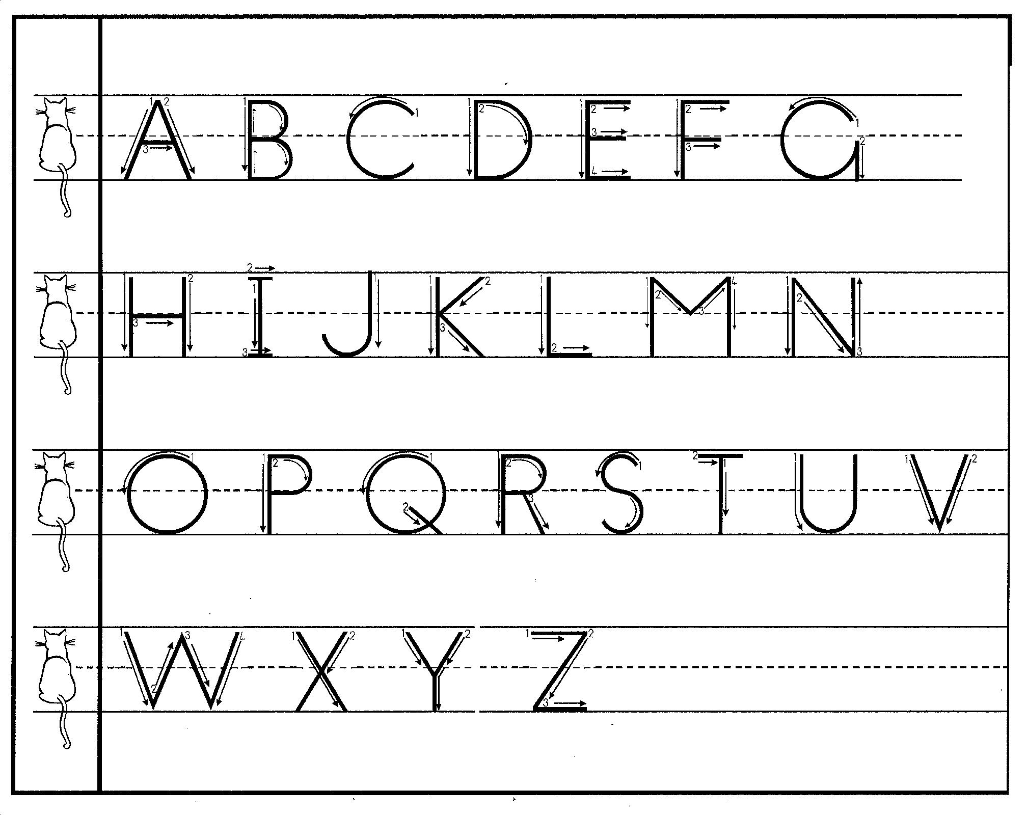 Free Print Handwriting Charts! | Practical Pages intended for Tracing Letters With Directional Arrows Font