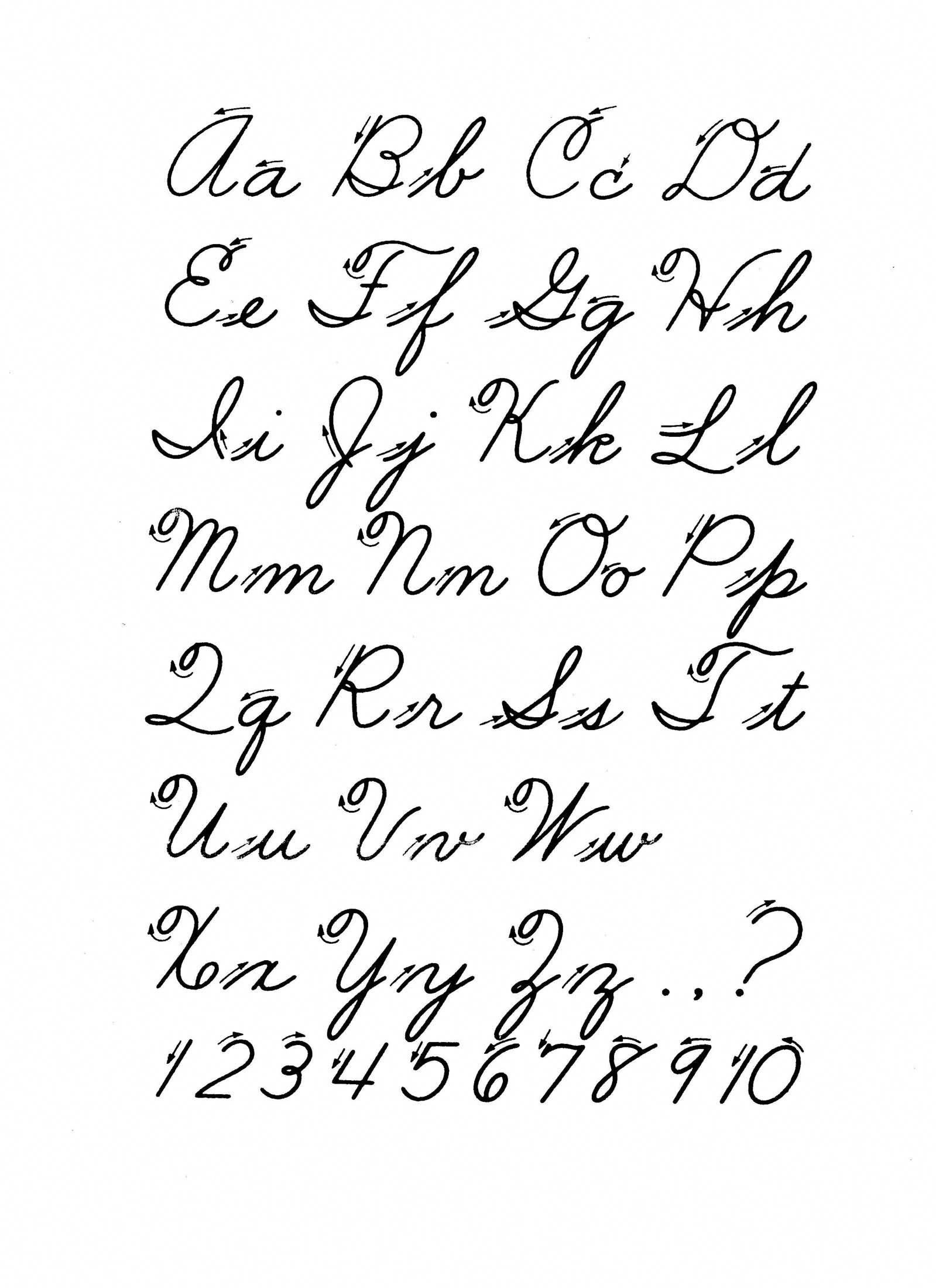 Free Printable Cursive Alphabet Letters #improvehandwriting inside Tracing Cursive Alphabet Letters