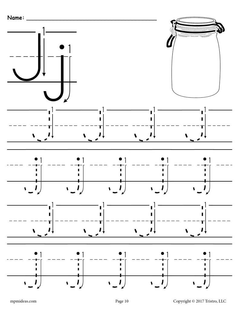 Free Printable Letter J Tracing Worksheet With Number And intended for Free Printable Tracing Letters For Kindergarten